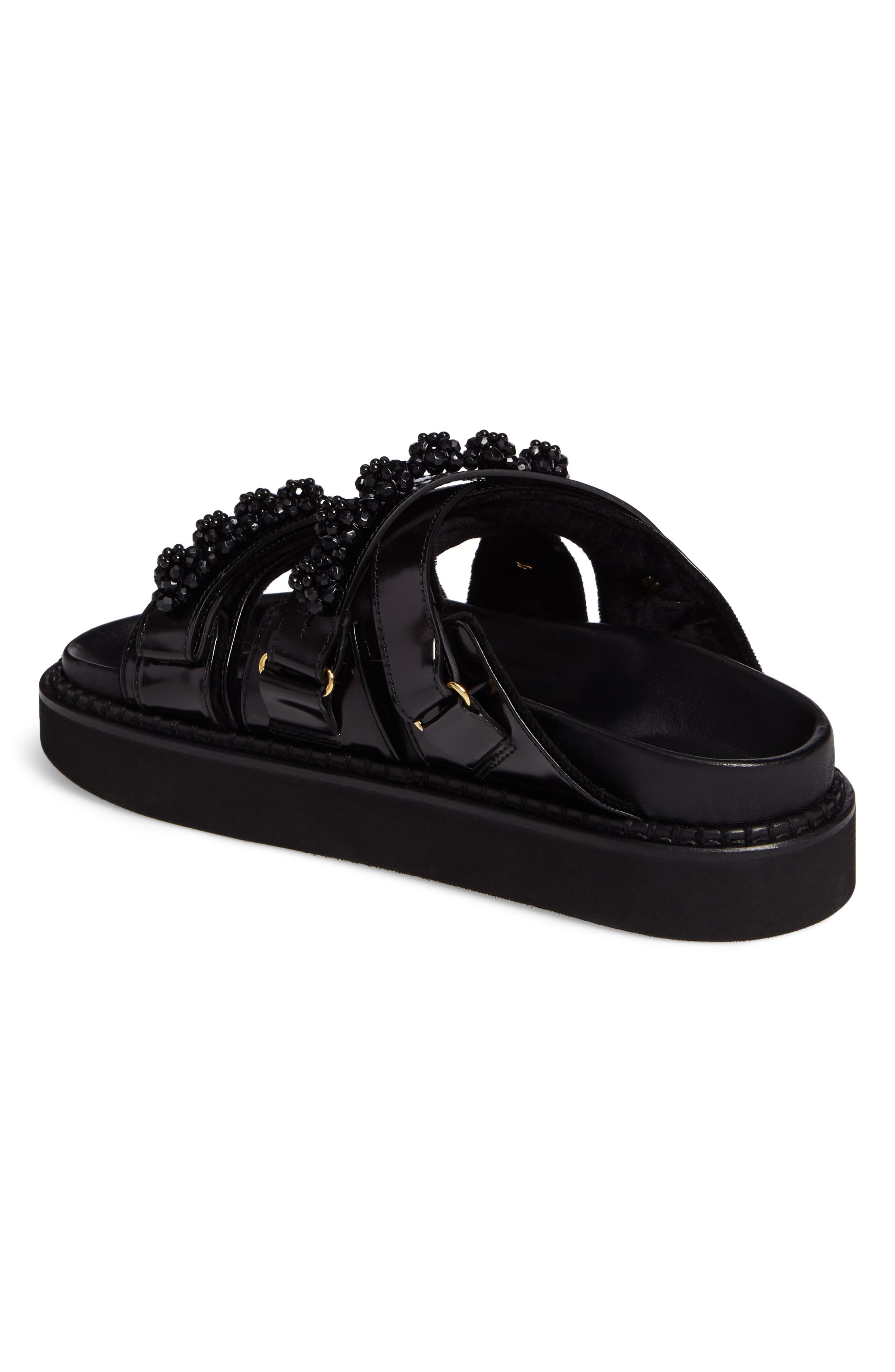 Beaded Leather Slide Sandal,                             Alternate thumbnail 2, color,                             Black