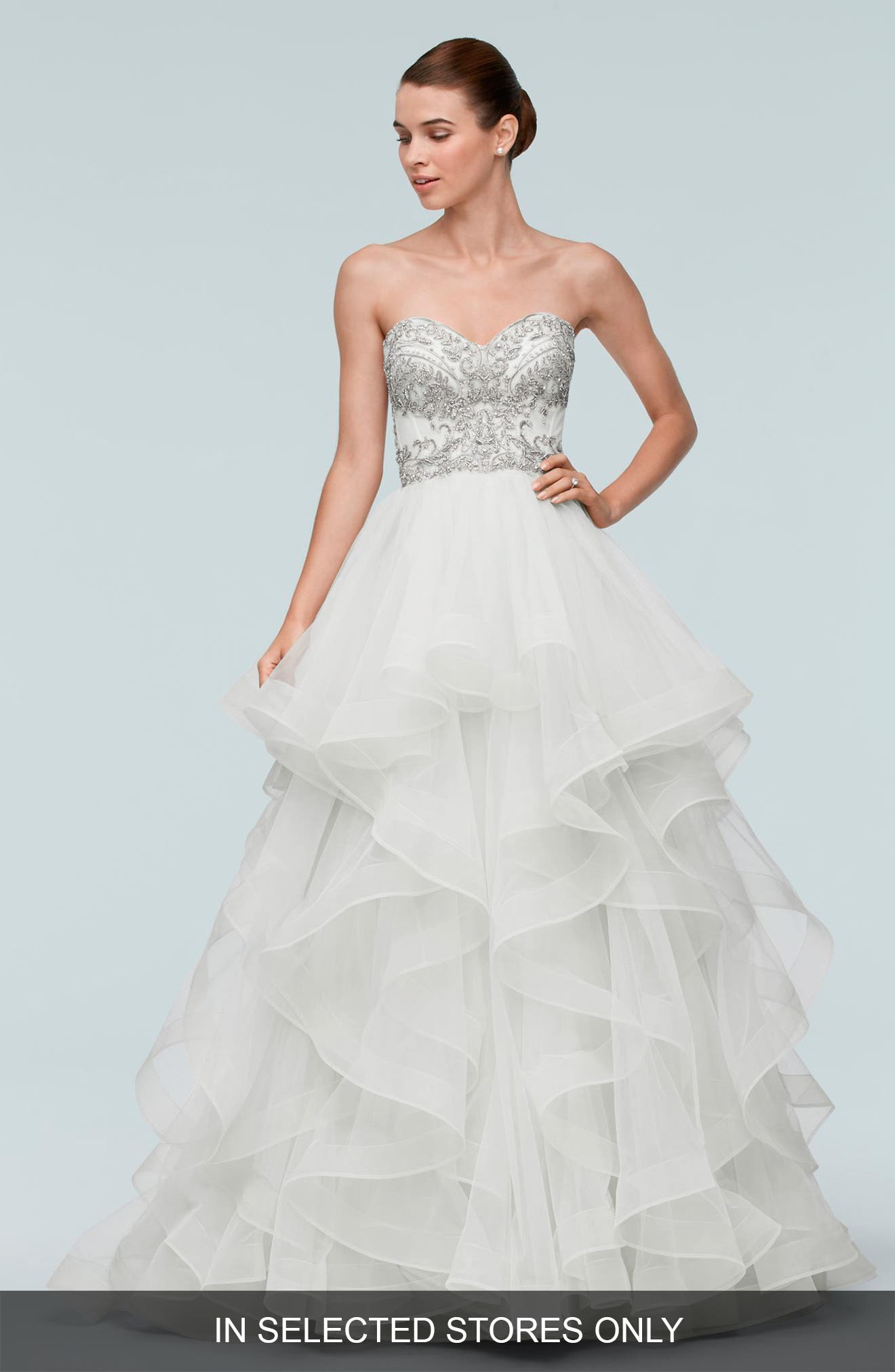 Watters Meri Beaded Strapless Layered Tulle Gown