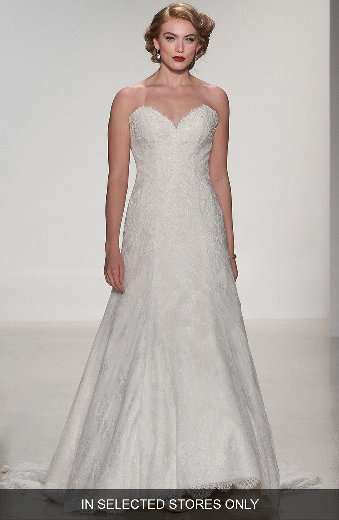 Alternate Image 1 Selected - Matthew Christopher Adaline Strapless Lace A-Line Gown
