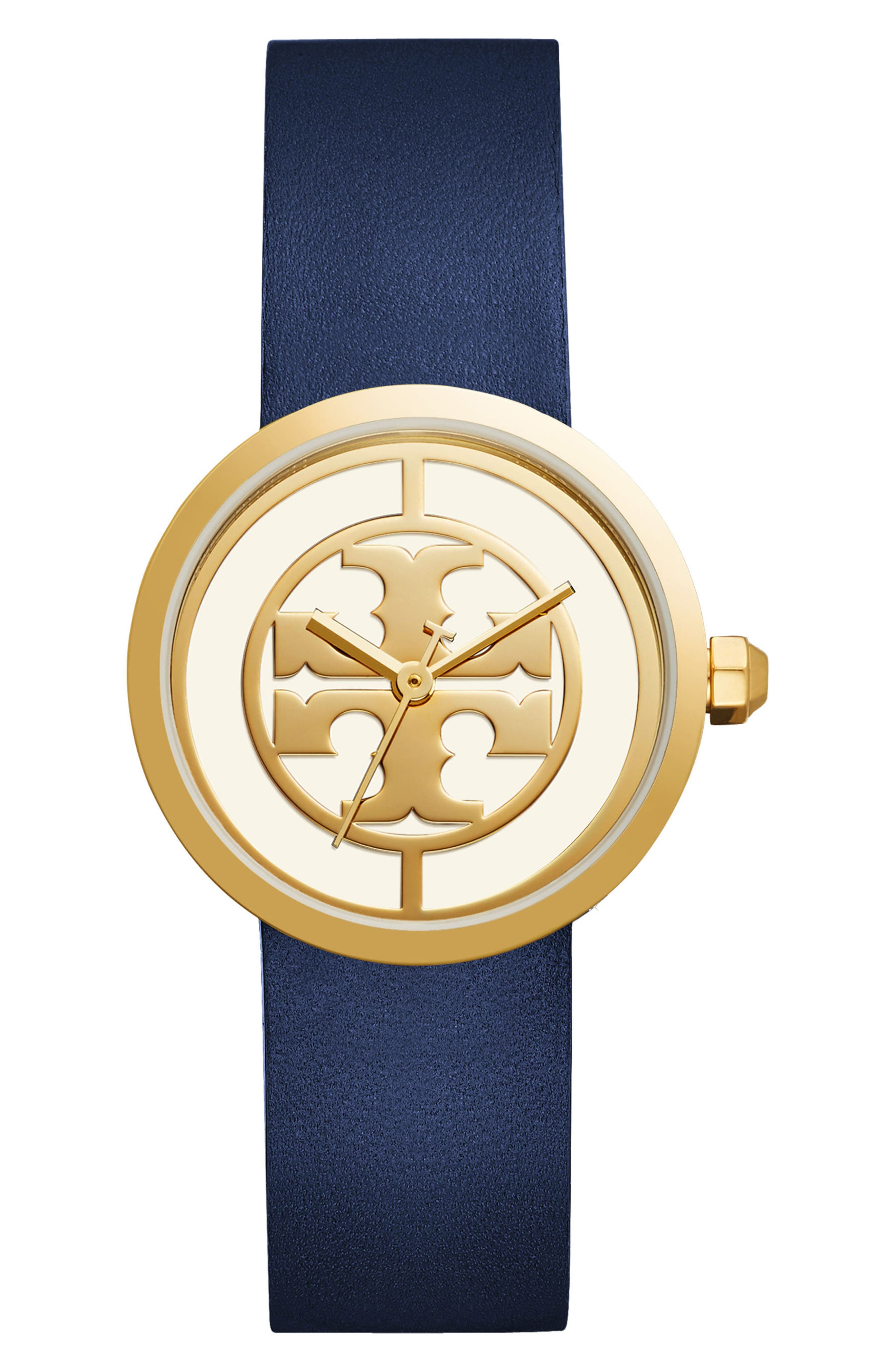 Main Image - Tory Burch Reva Logo Dial Leather Strap Watch, 36mm
