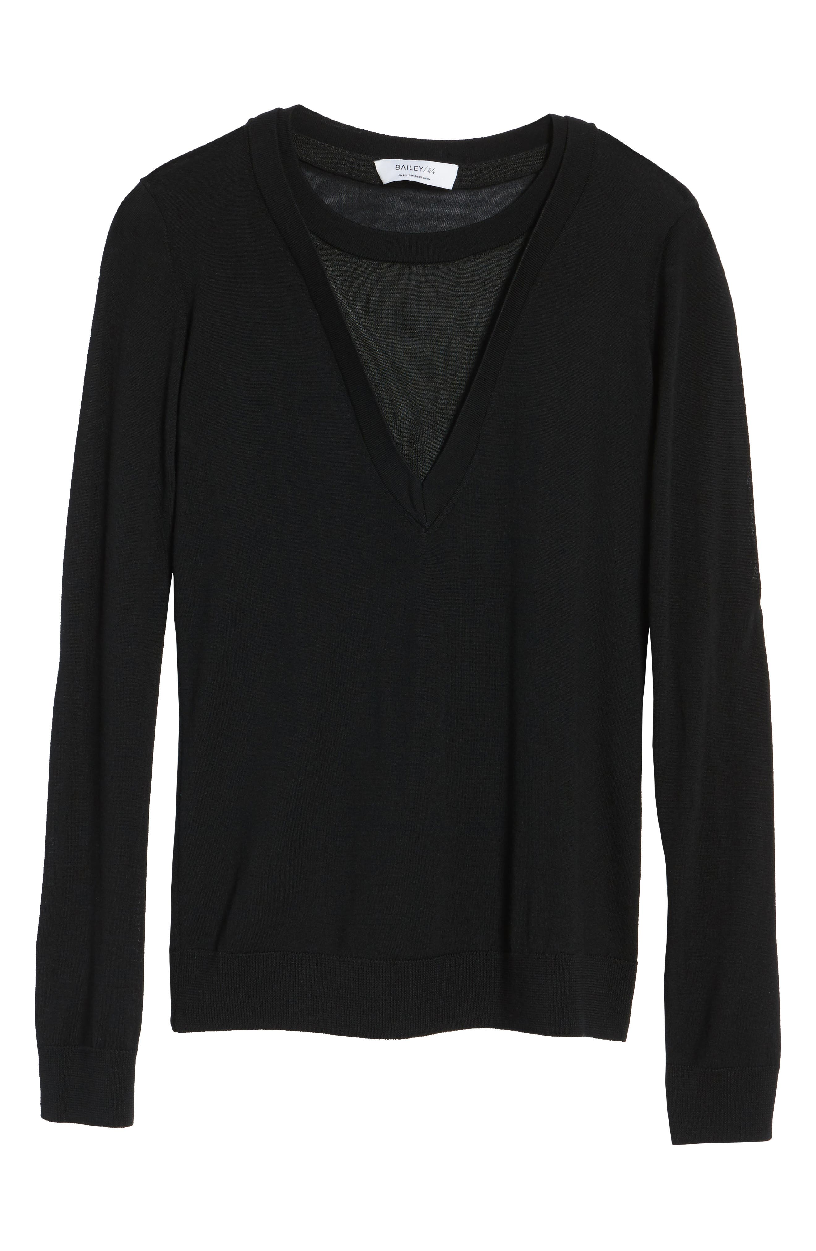 Chivalry Mesh Sweater,                             Alternate thumbnail 6, color,                             Black