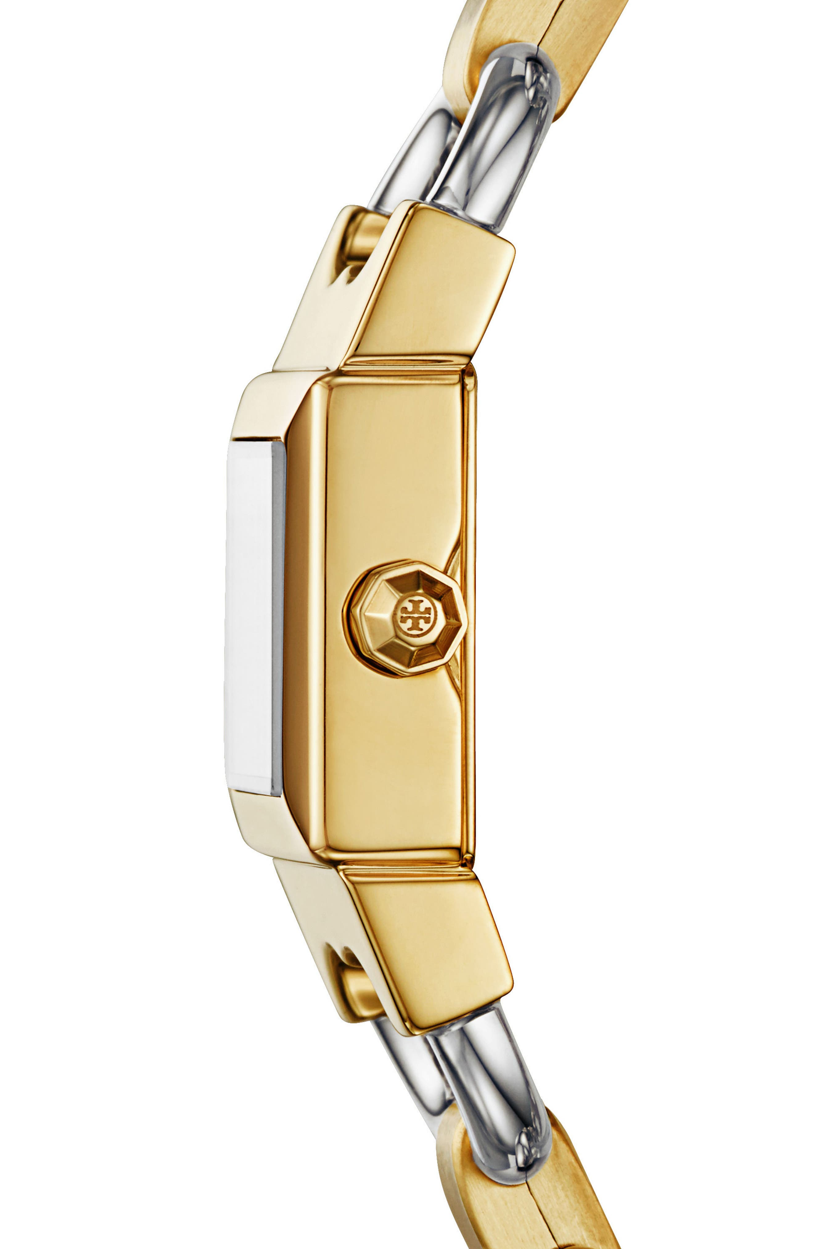 Double T Link Bracelet Watch, 18mm,                             Alternate thumbnail 2, color,                             Gold/ Ivory/ Silver