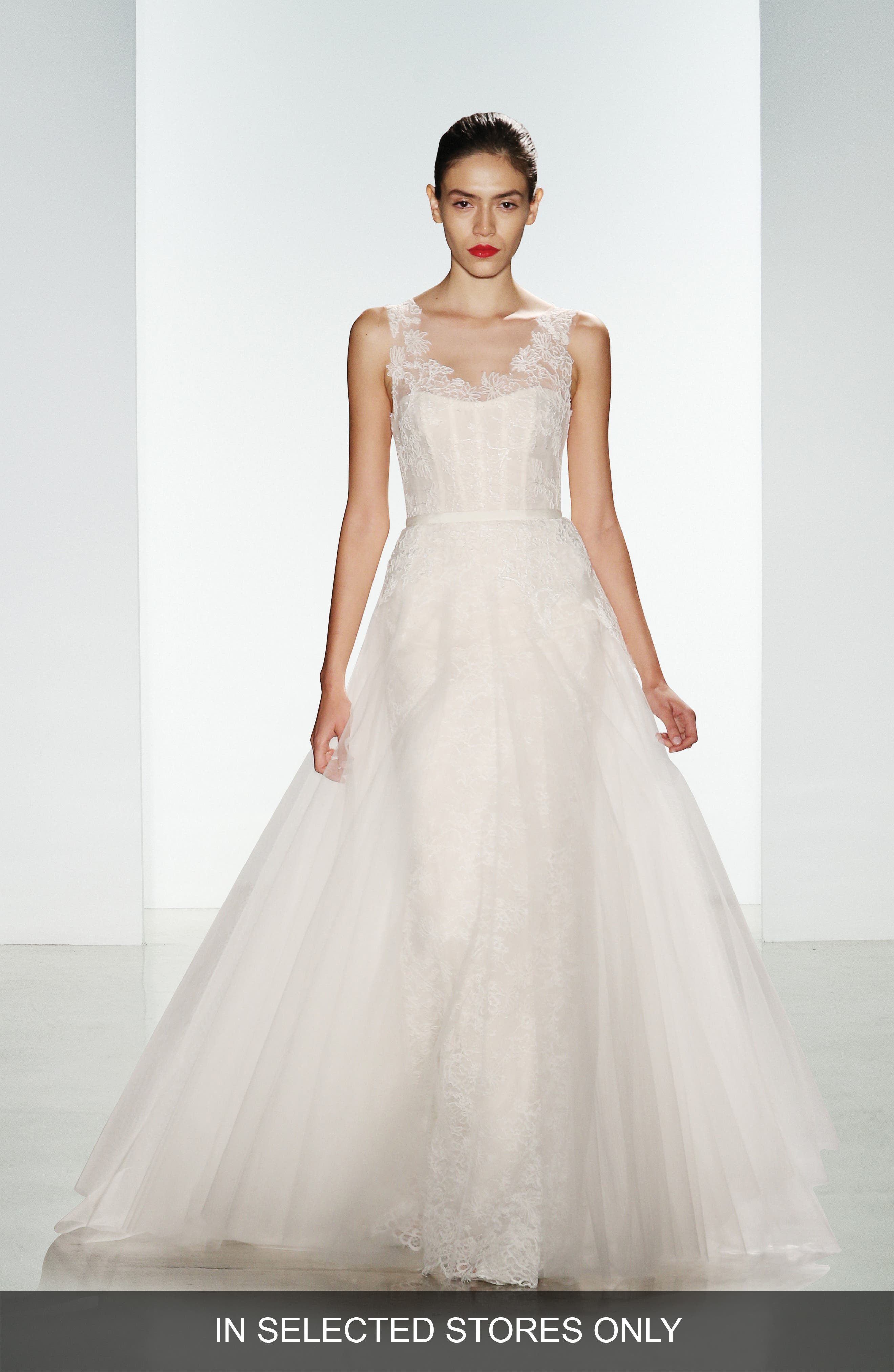 Amsale Rae Corded Lace Gown with Tulle Overskirt