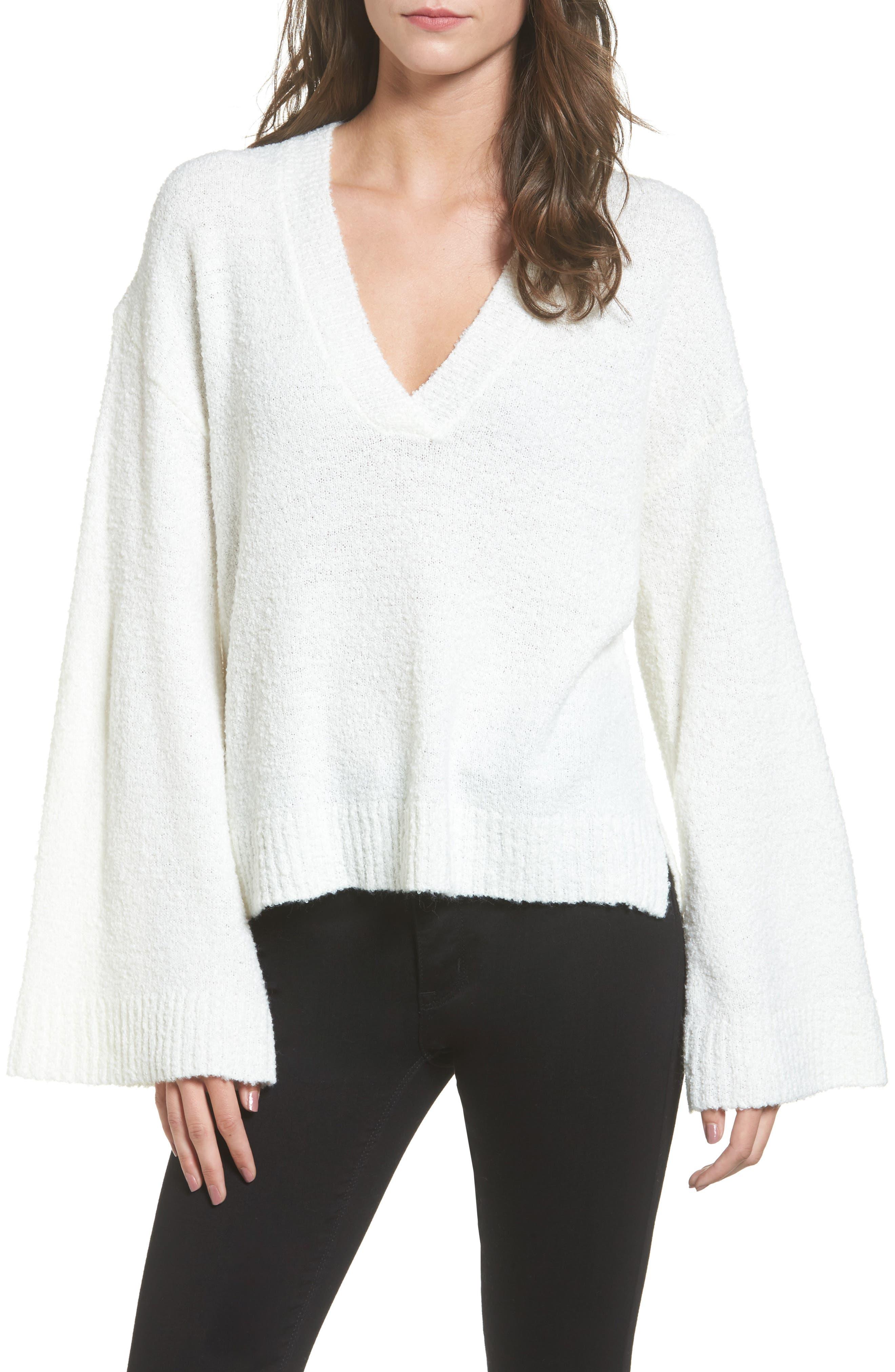 Bouclé V-Neck Sweater,                         Main,                         color, Ivory Egret