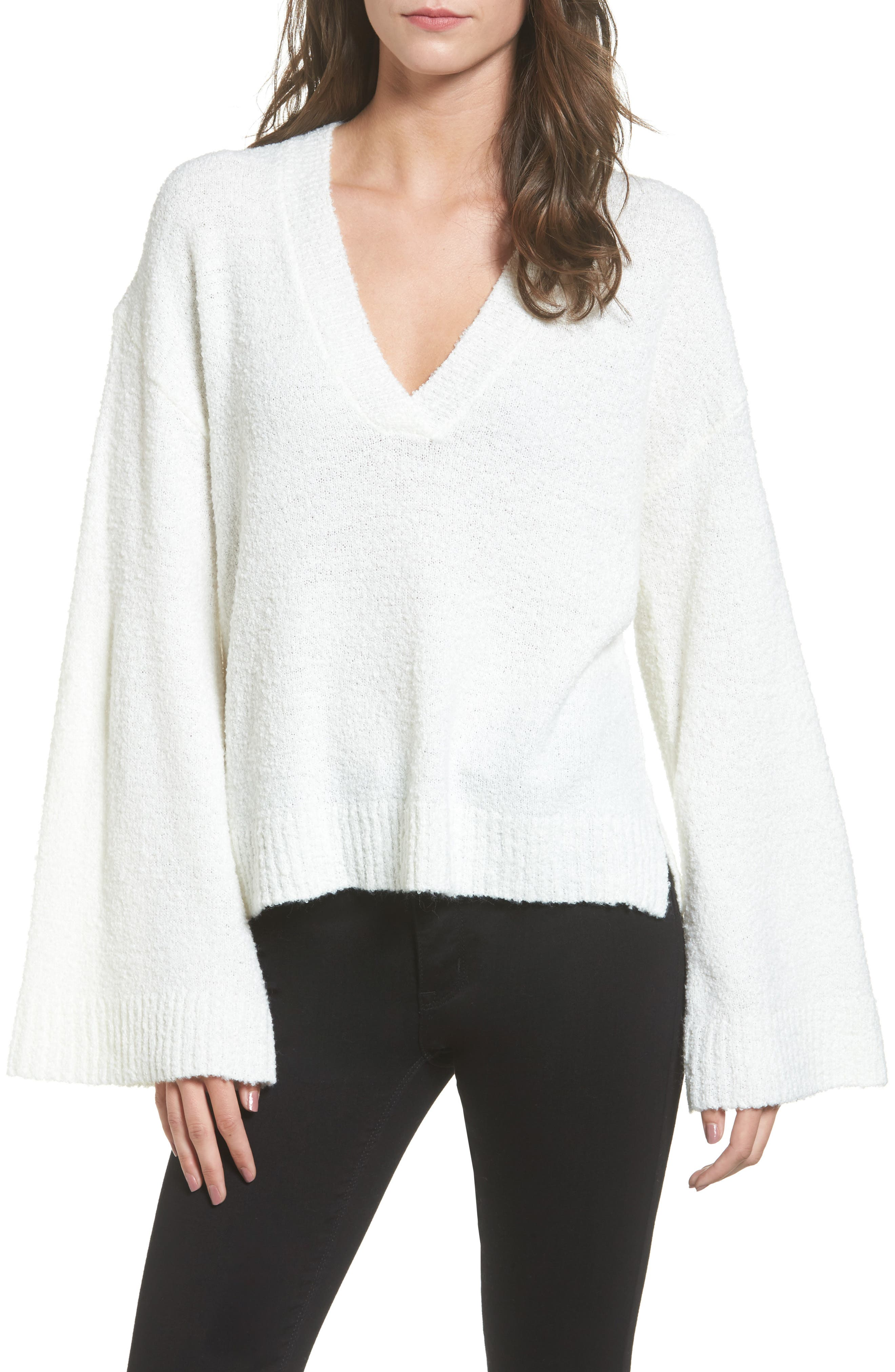 BP. Bouclé V-Neck Sweater