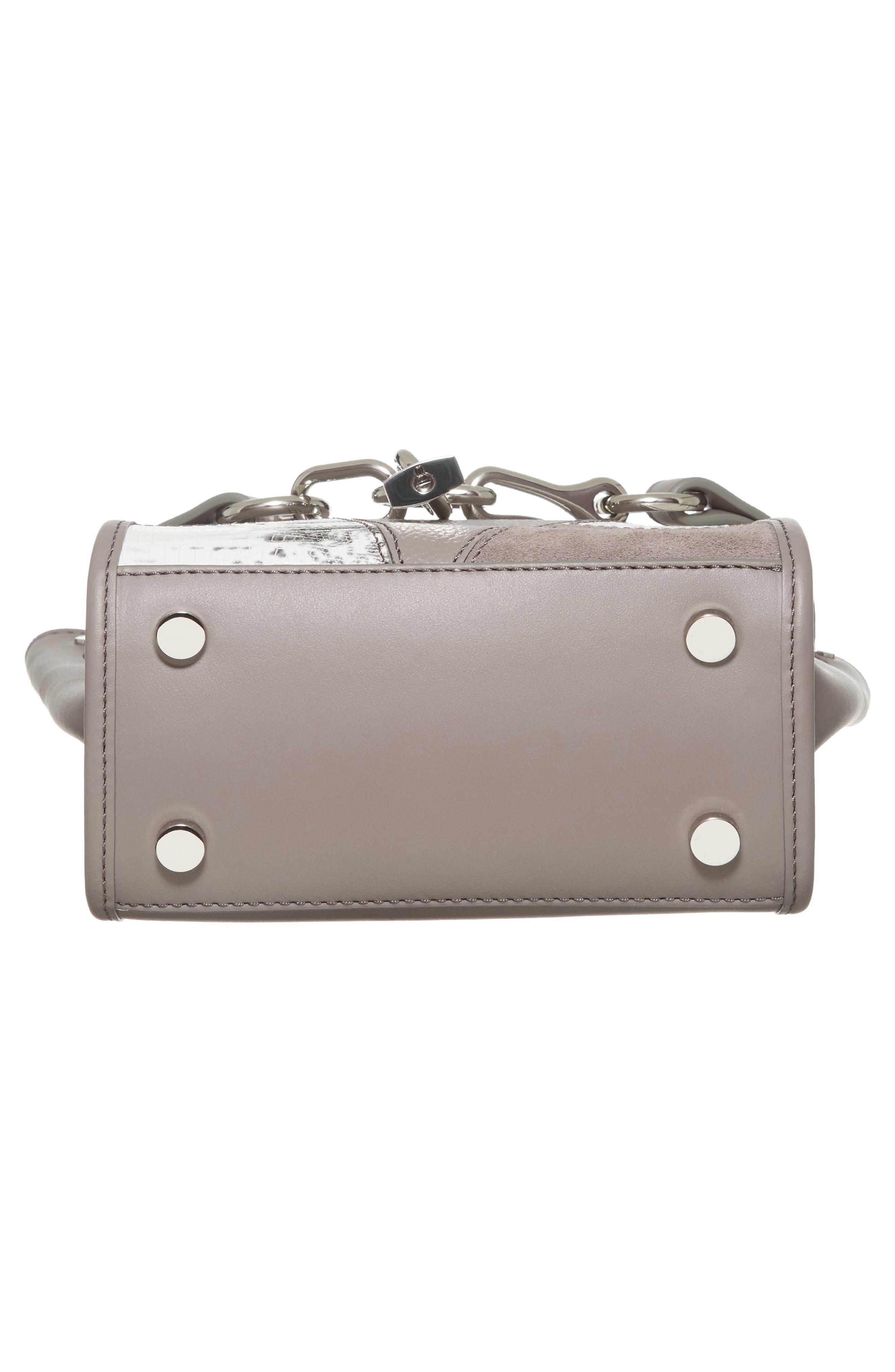 Mini Attica Patchwork Leather Satchel,                             Alternate thumbnail 6, color,                             Grey Multi
