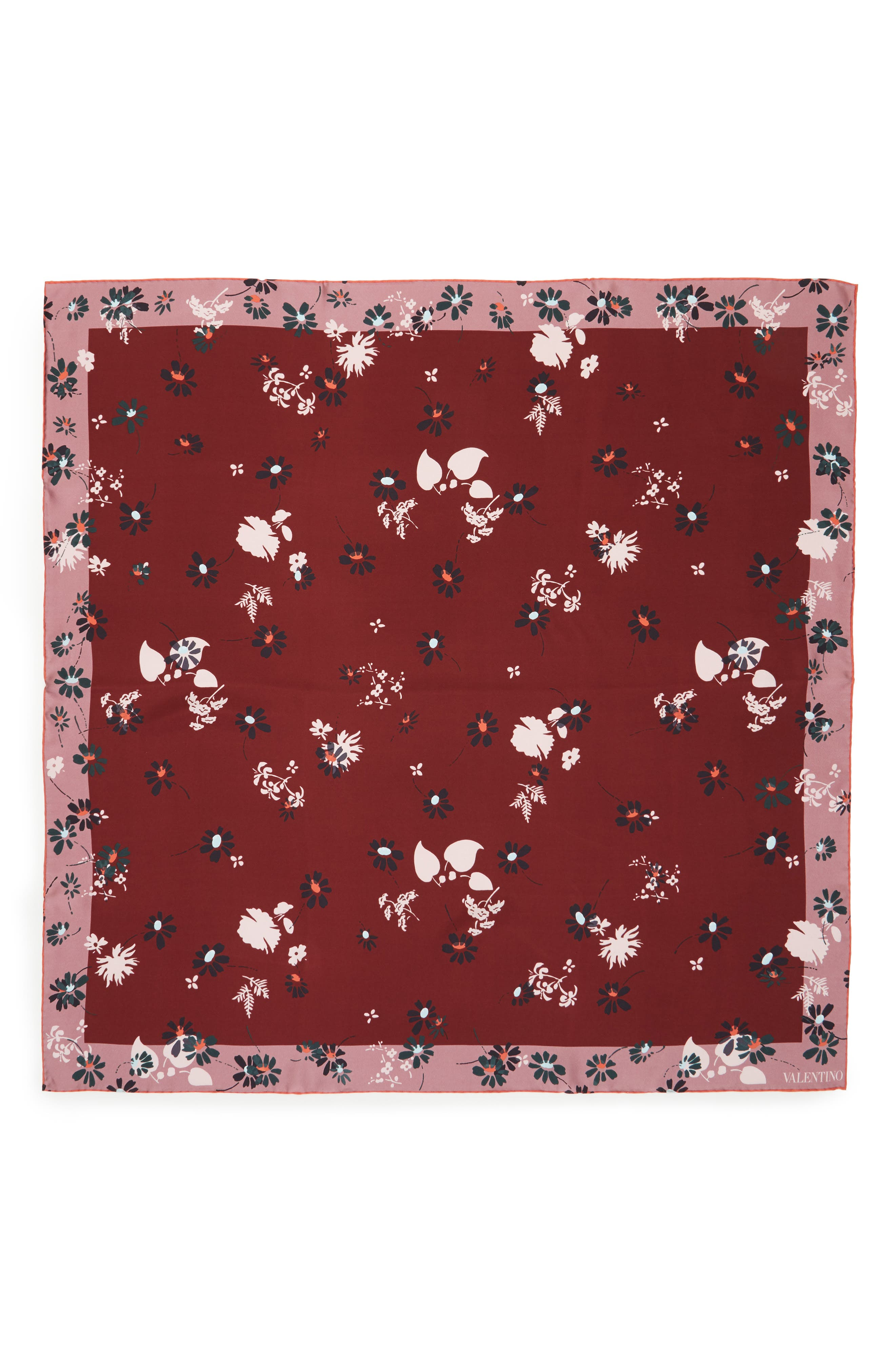 Flowers Fall Silk Scarf,                             Main thumbnail 1, color,                             Cassis