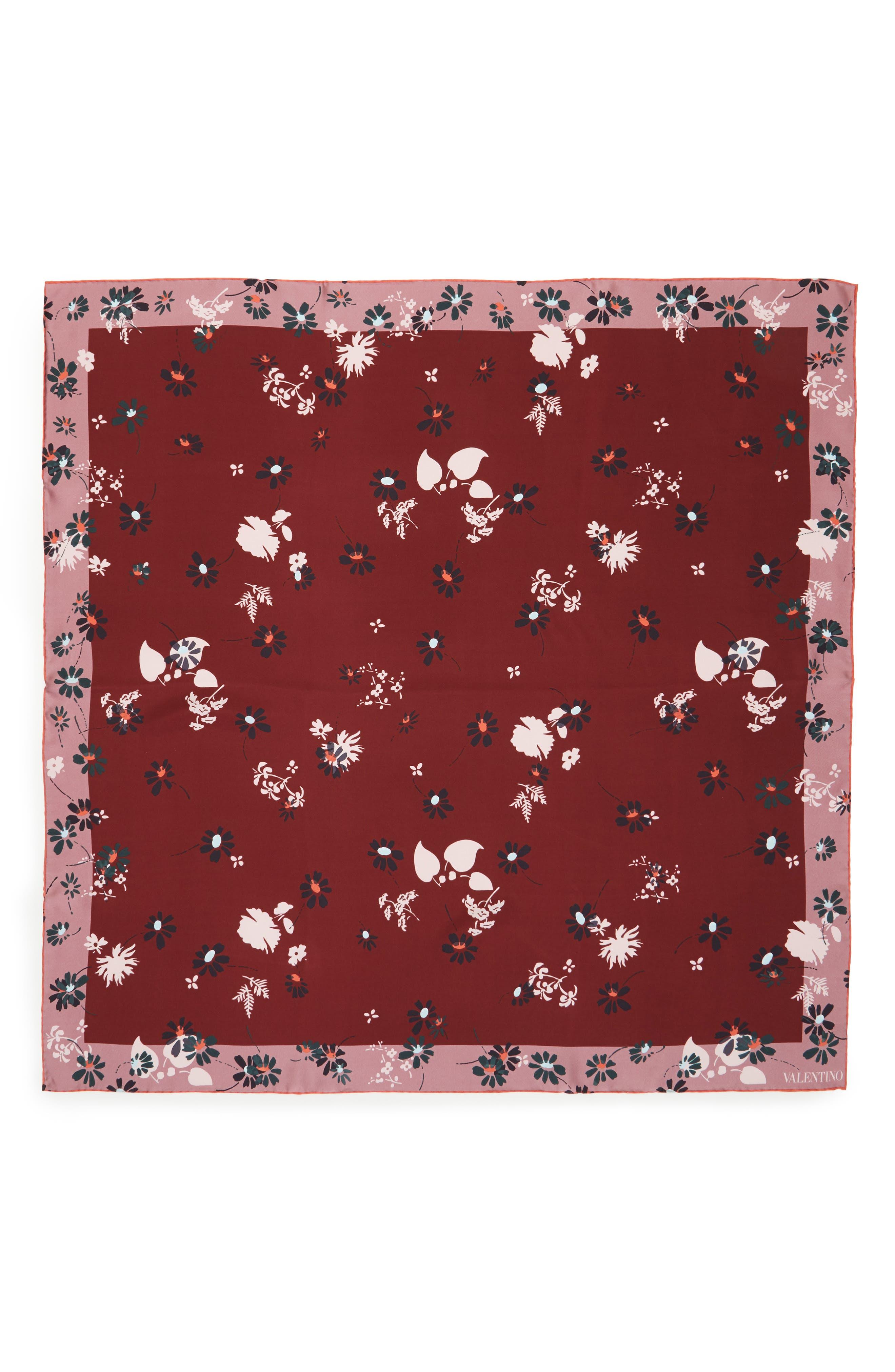 Valentino Flowers Fall Silk Scarf