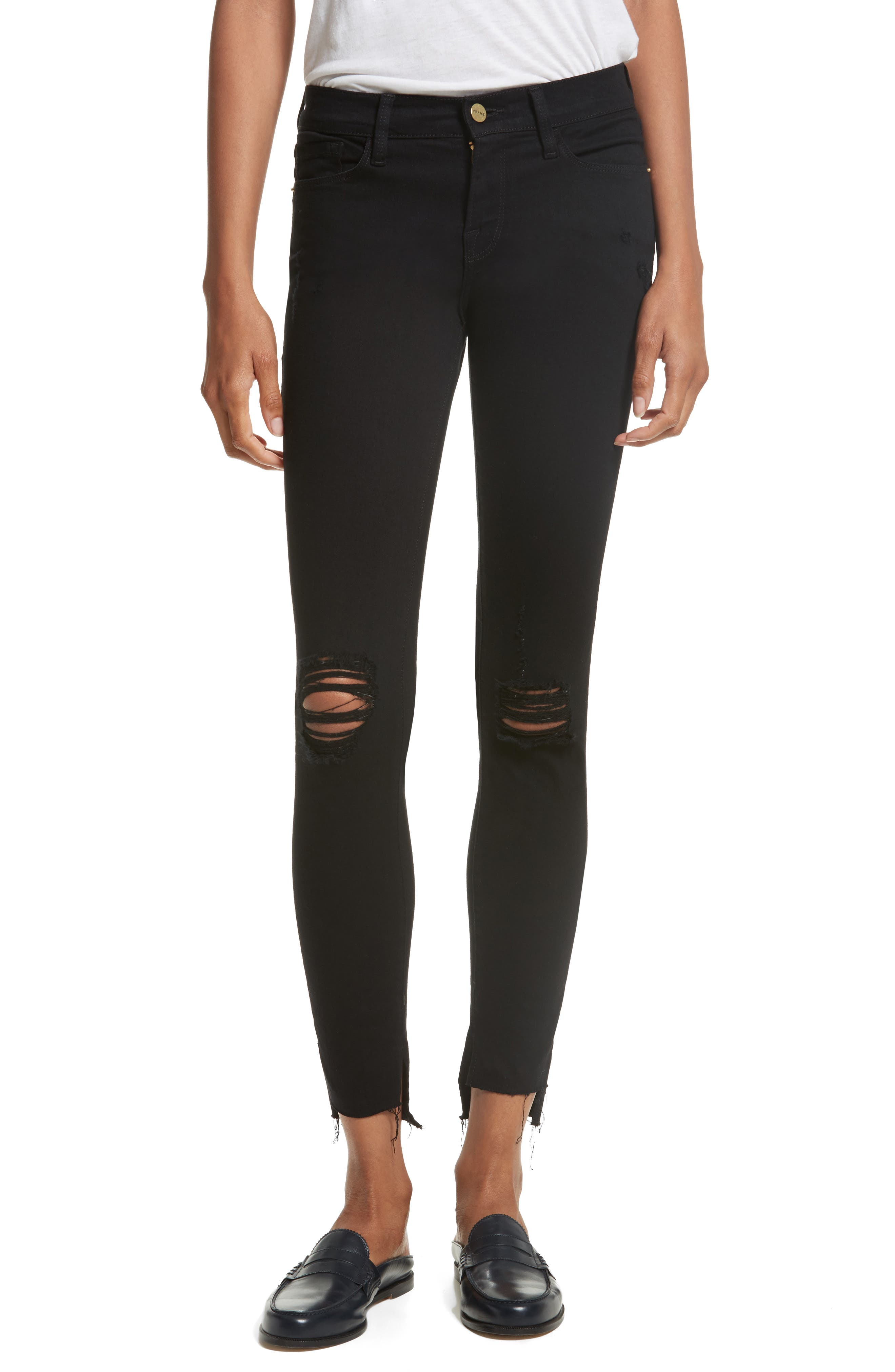 Alternate Image 1 Selected - FRAME Le Skinny de Jeanne Raw Stagger Hem Jeans (Lilac Film Noir)
