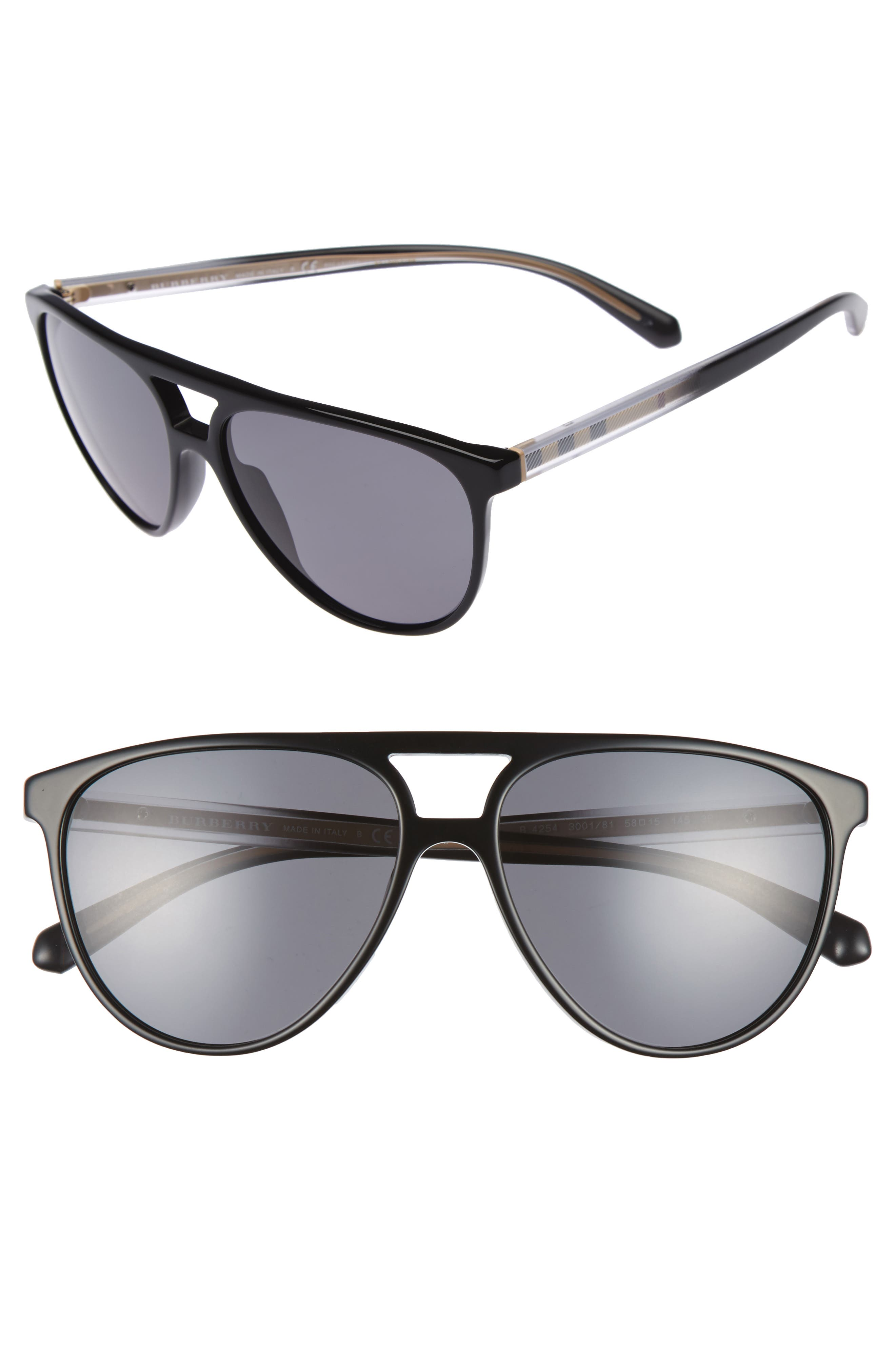Alternate Image 1 Selected - Burberry 58mm Polarized Aviator Sunglasses
