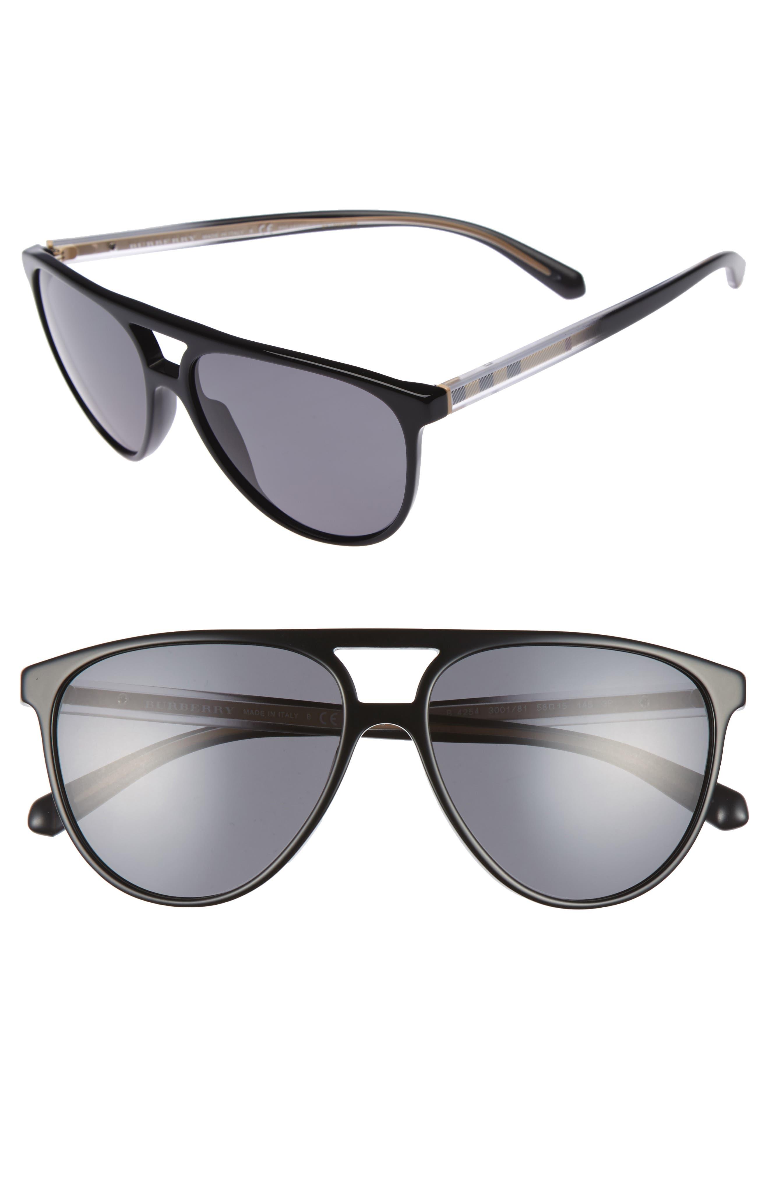 58mm Polarized Aviator Sunglasses,                         Main,                         color, Black/ Polar