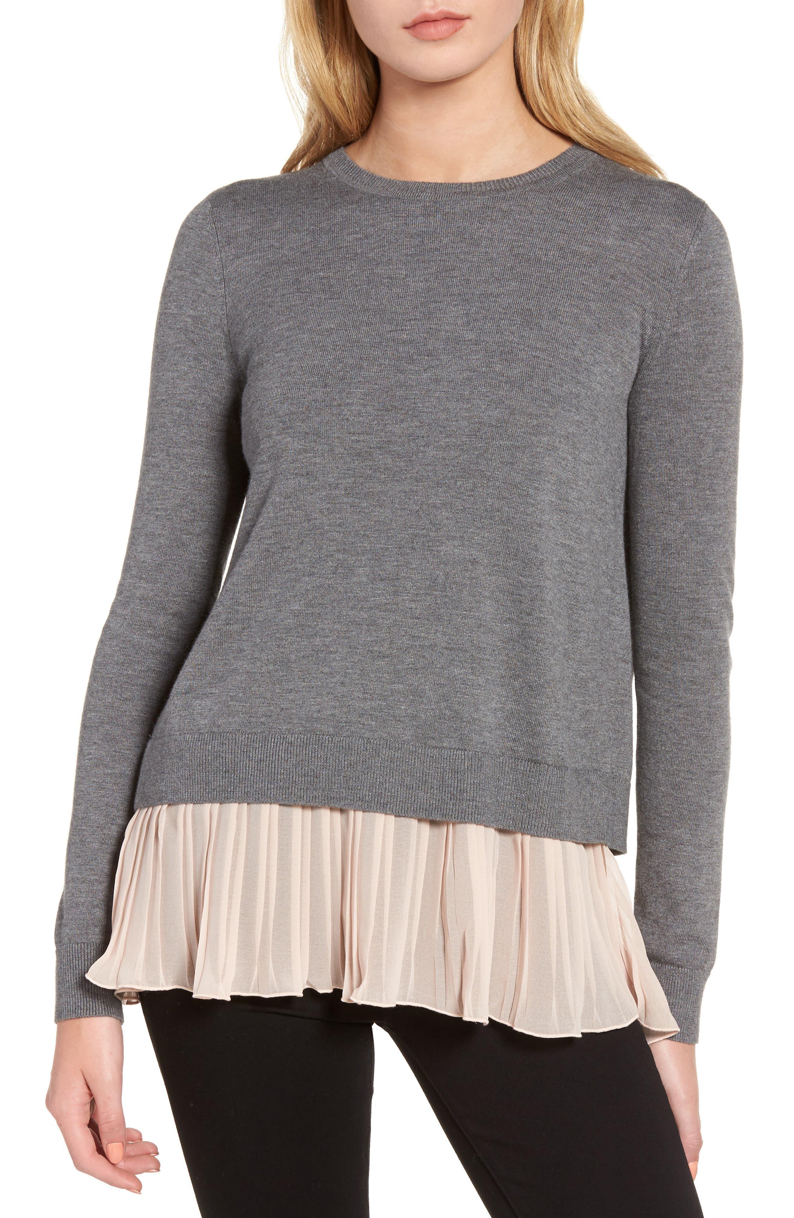 Pleated Hem Sweater,                         Main,                         color, Grey Dark Heather