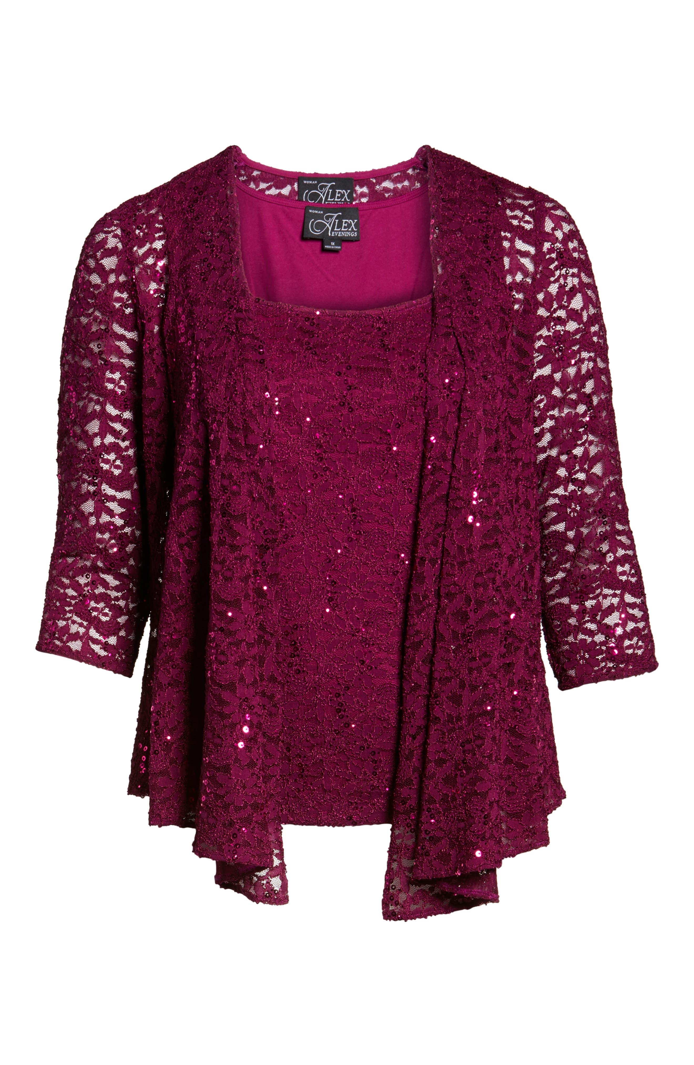 Alternate Image 6  - Alex Evenings Sequin Lace Twinset (Plus Size)
