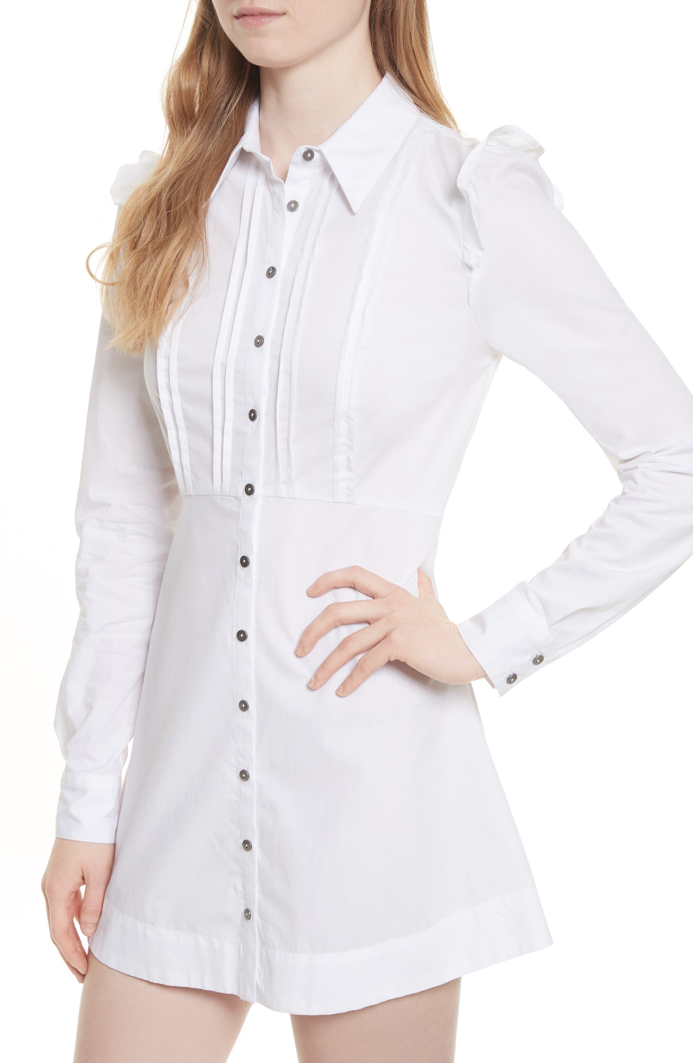 Alternate Image 4  - Free People Pretty Princess Dress Shirtdress with Lace Overlay