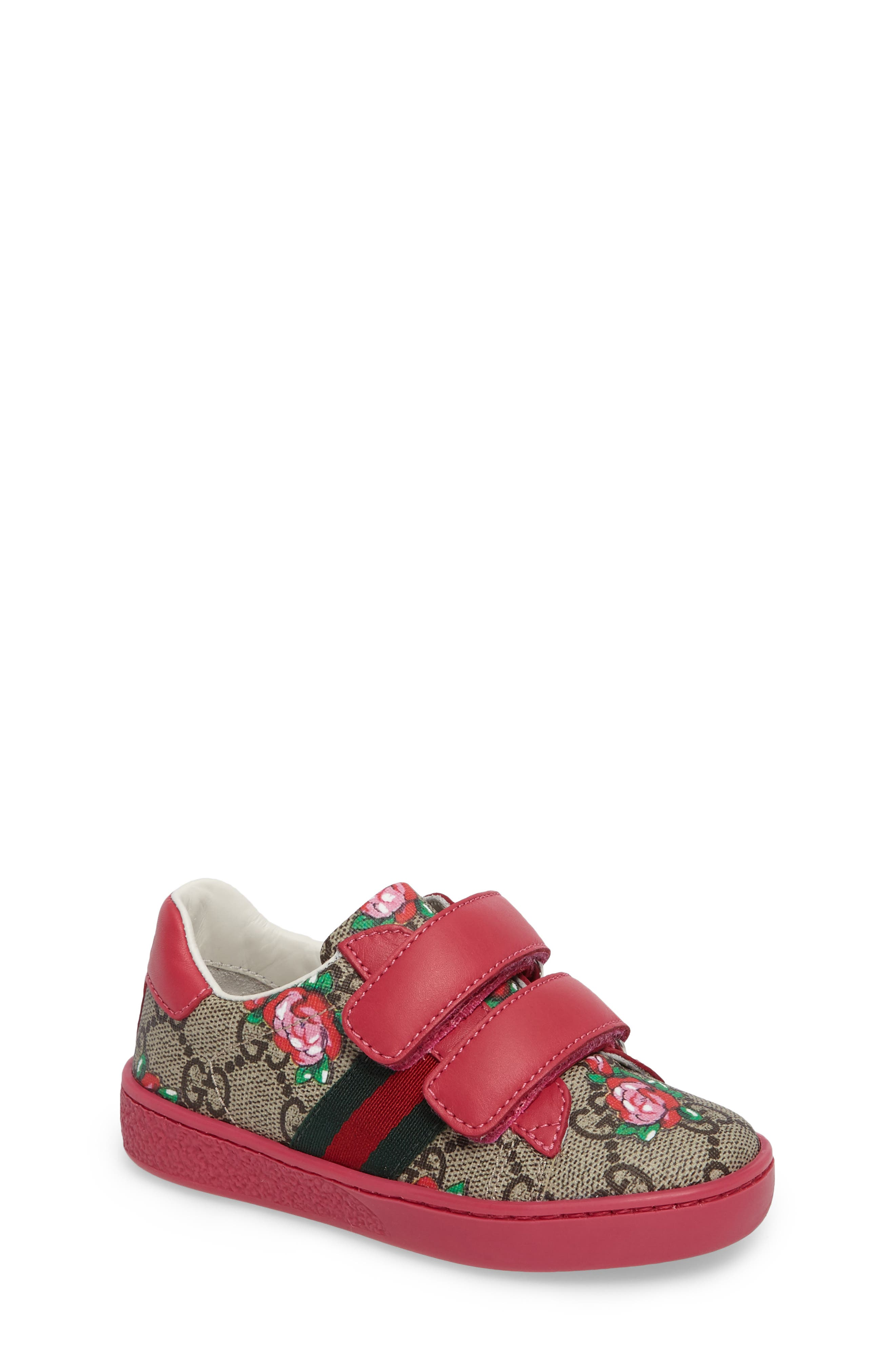 Alternate Image 1 Selected - Gucci New Ace Monogram Sneaker (Baby, Walker & Toddler)