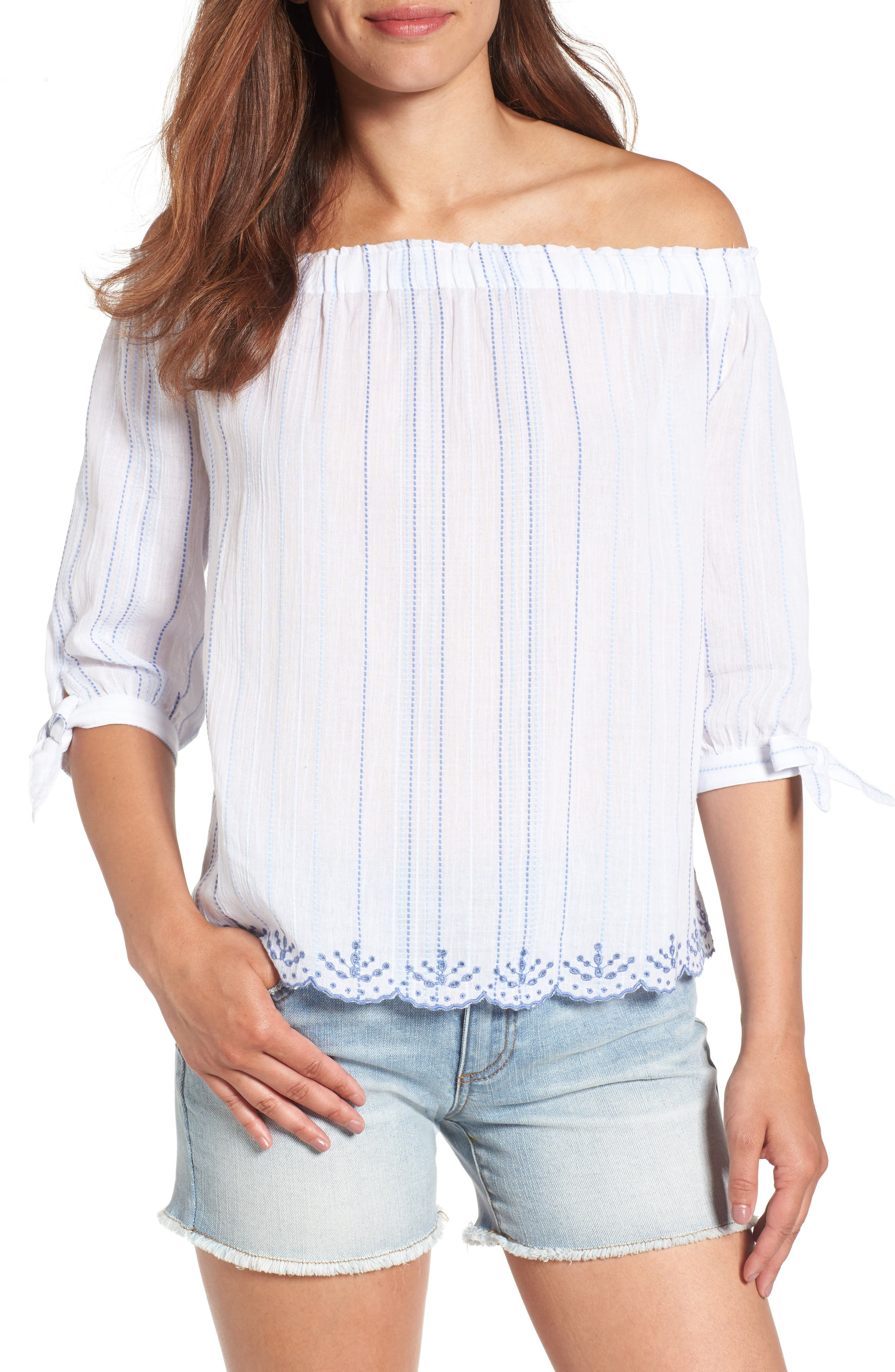 Off the Shoulder Top,                         Main,                         color, White/ Blue