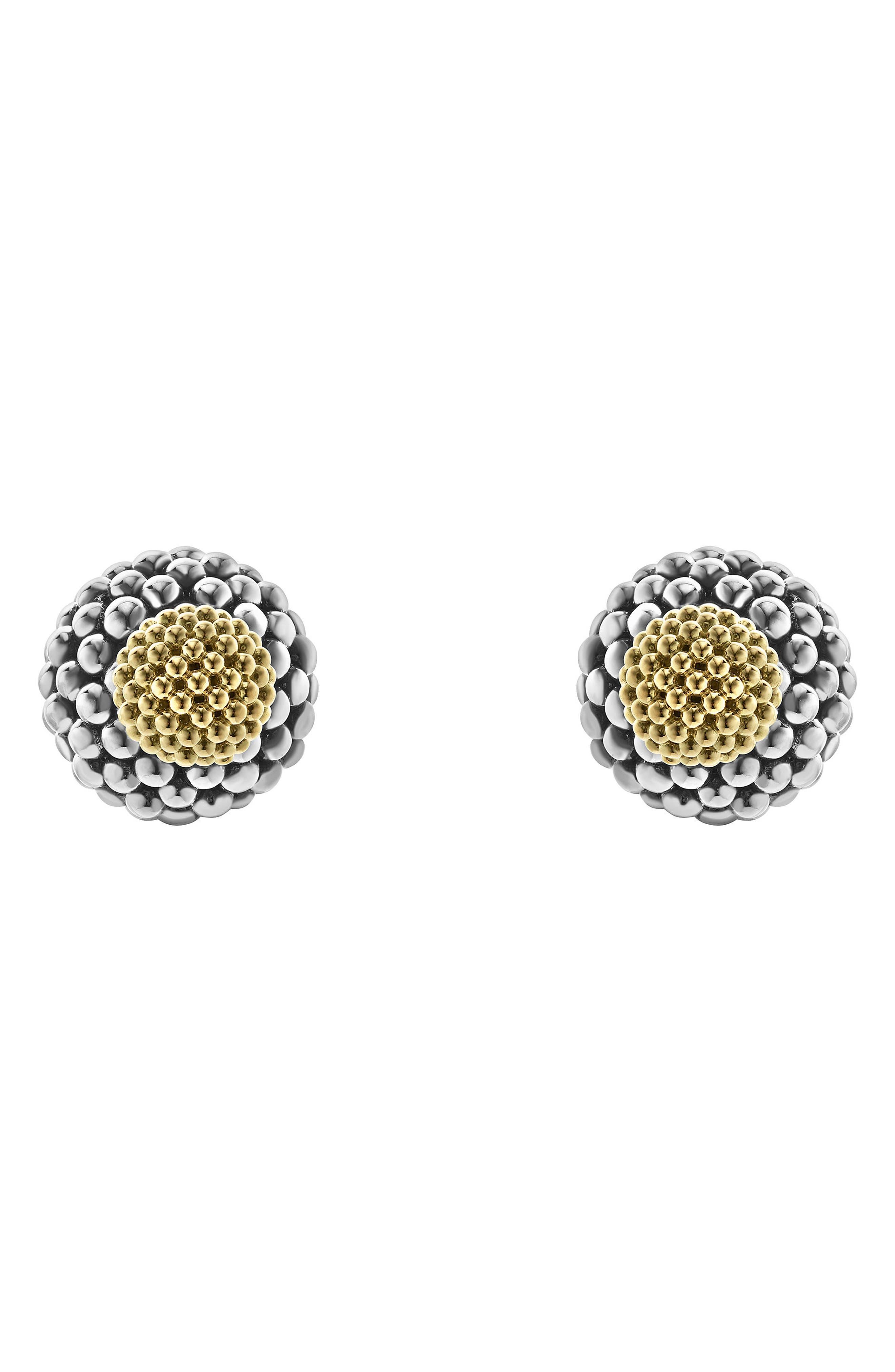 Caviar Ball Stud Earrings,                         Main,                         color, Silver/ Gold