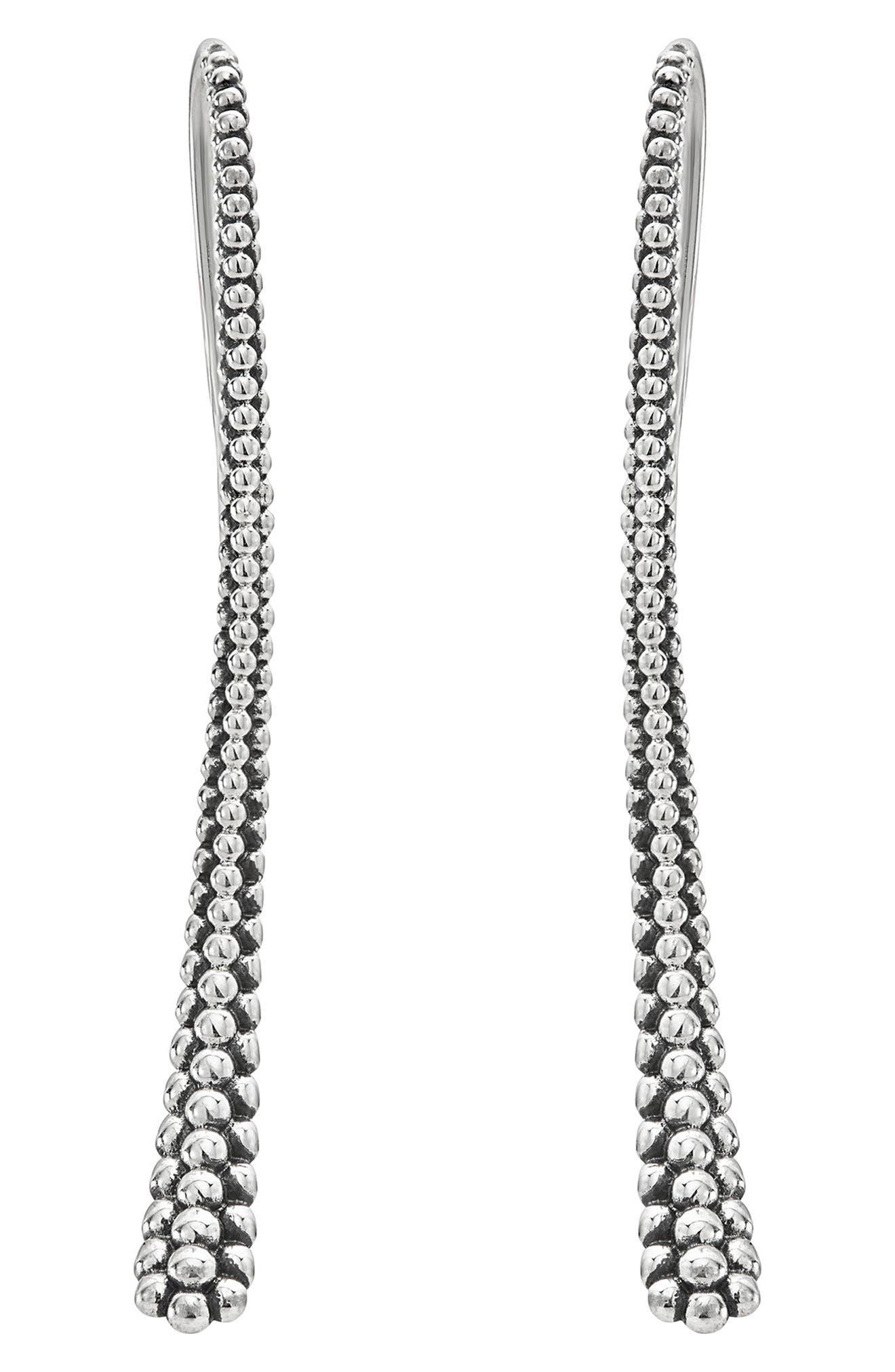 Caviar Linear Earrings,                             Alternate thumbnail 2, color,                             Silver