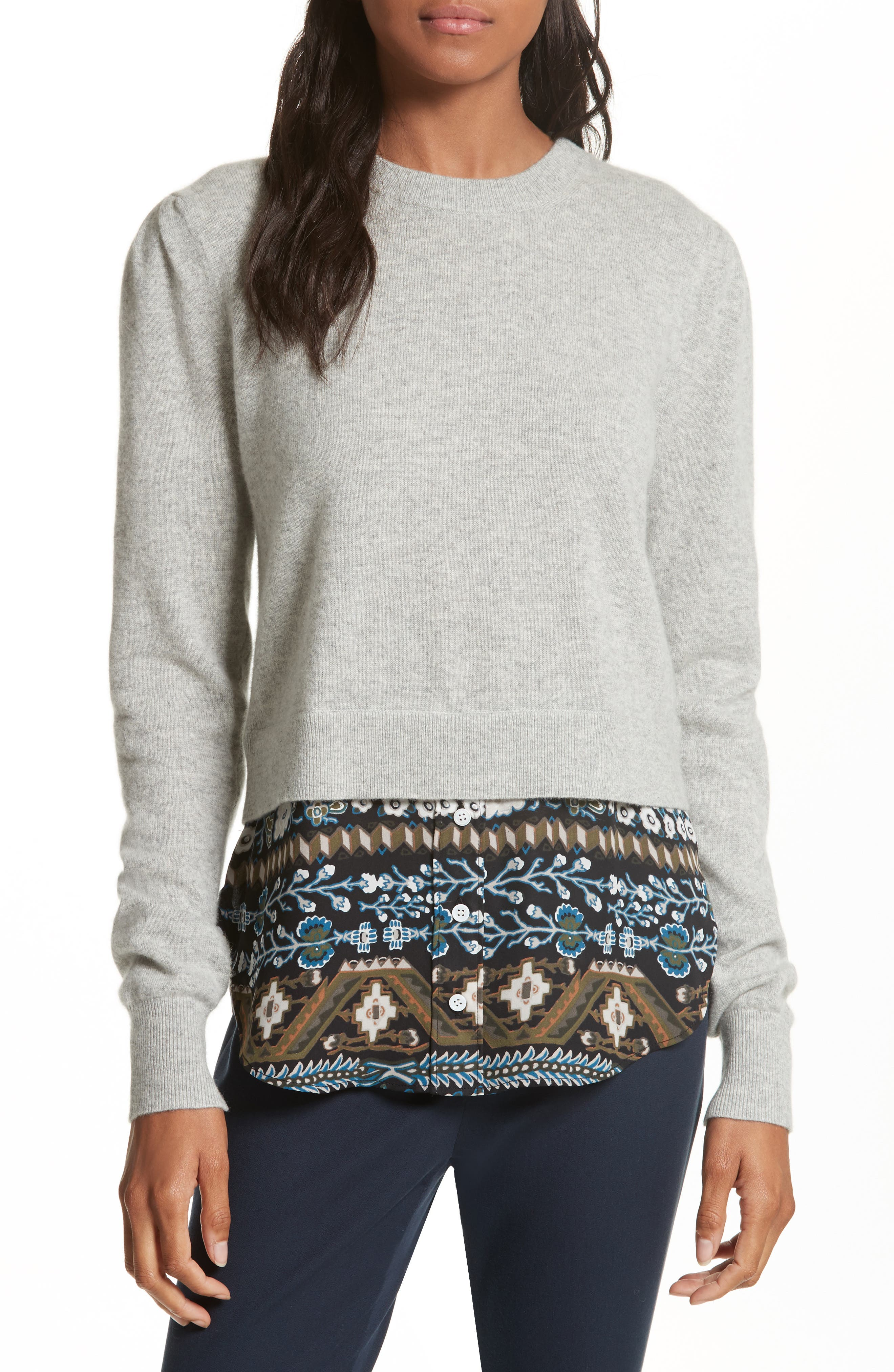 Jenson Layered Hem Cashmere Sweater,                             Main thumbnail 1, color,                             Grey/ Army/ Black Aztec Print