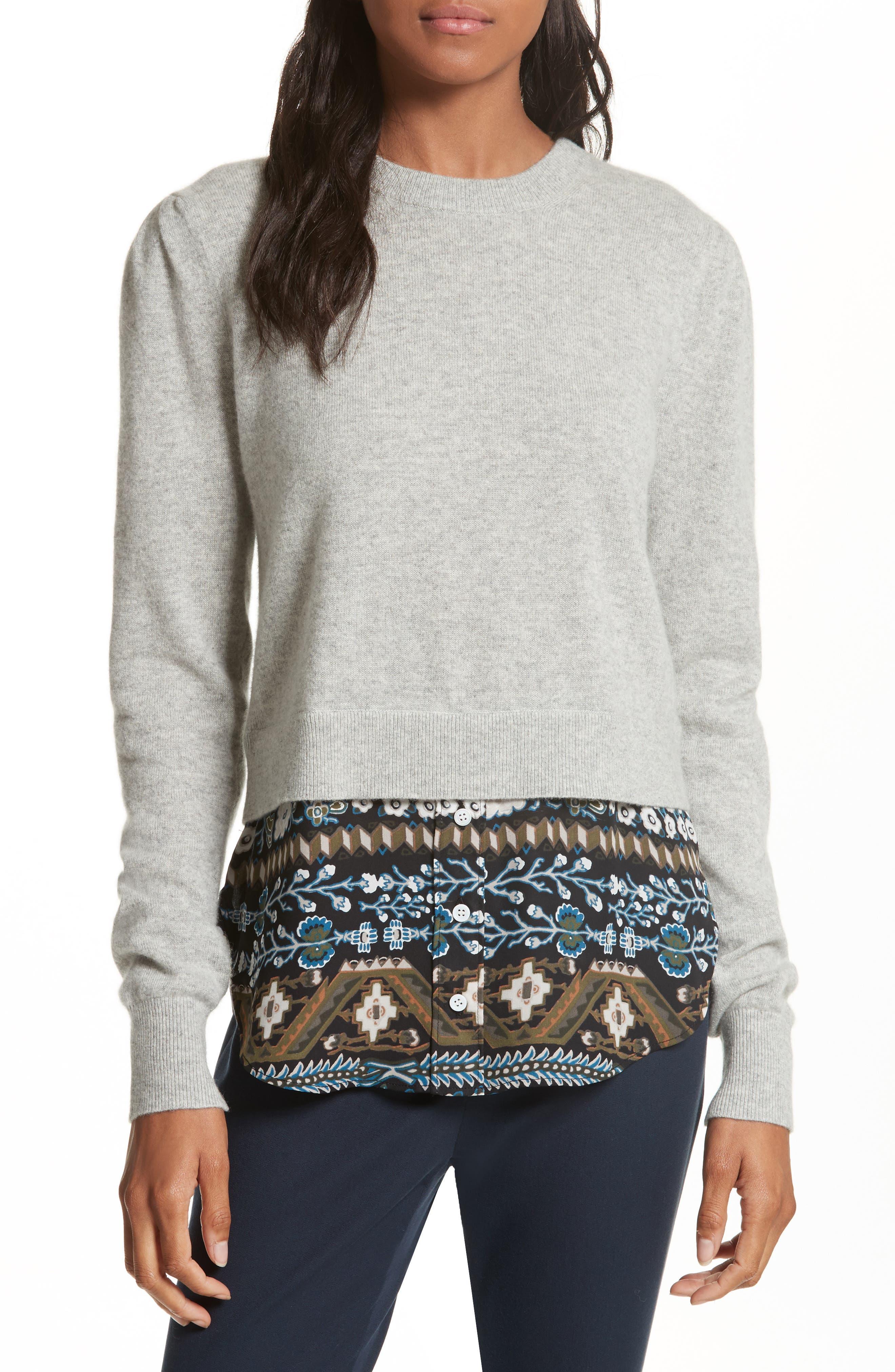 Main Image - Veronica Beard Jenson Layered Hem Cashmere Sweater