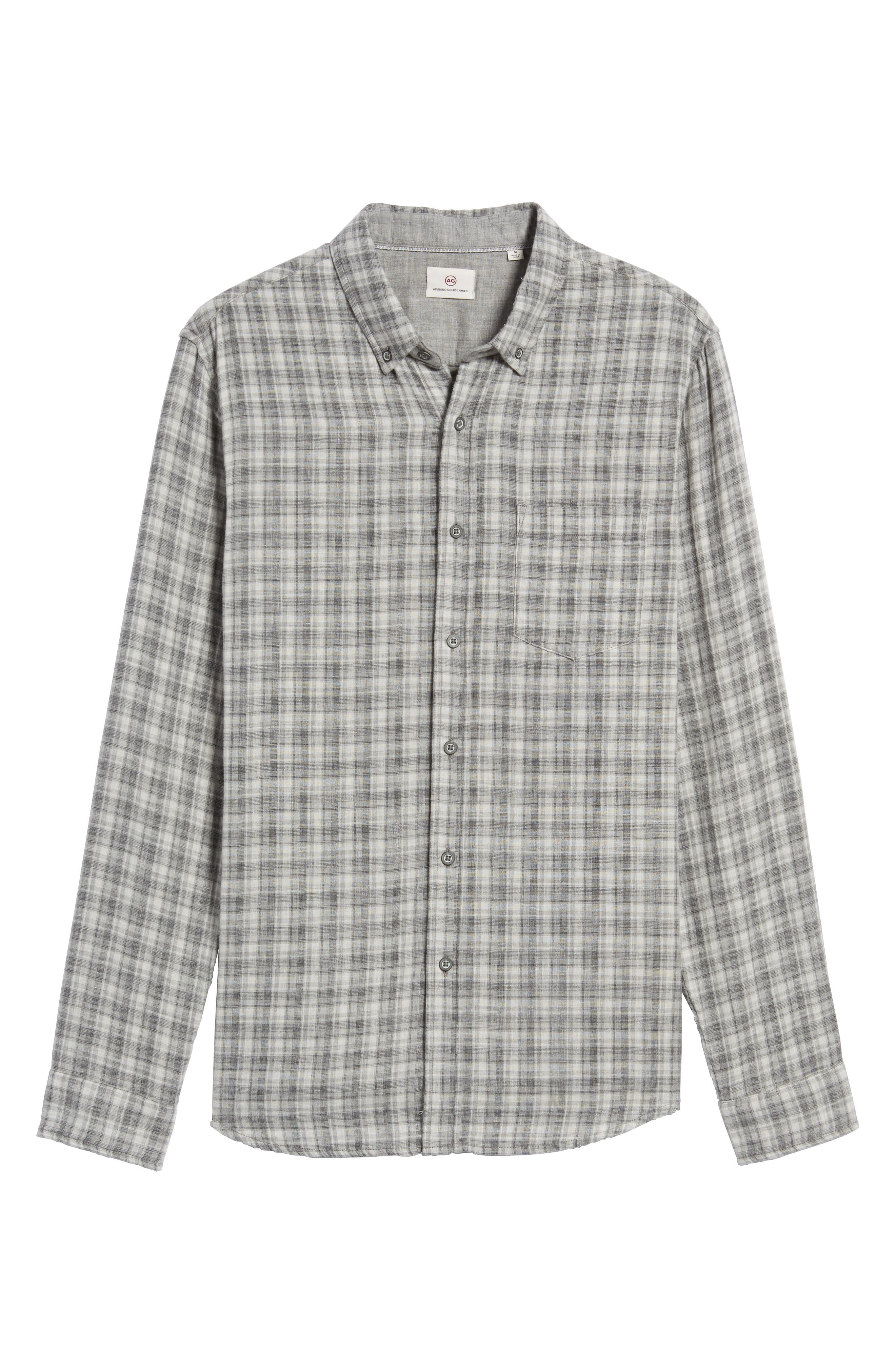Grady Plaid Sport Shirt,                             Alternate thumbnail 5, color,                             Dlp Heather Grey/ White