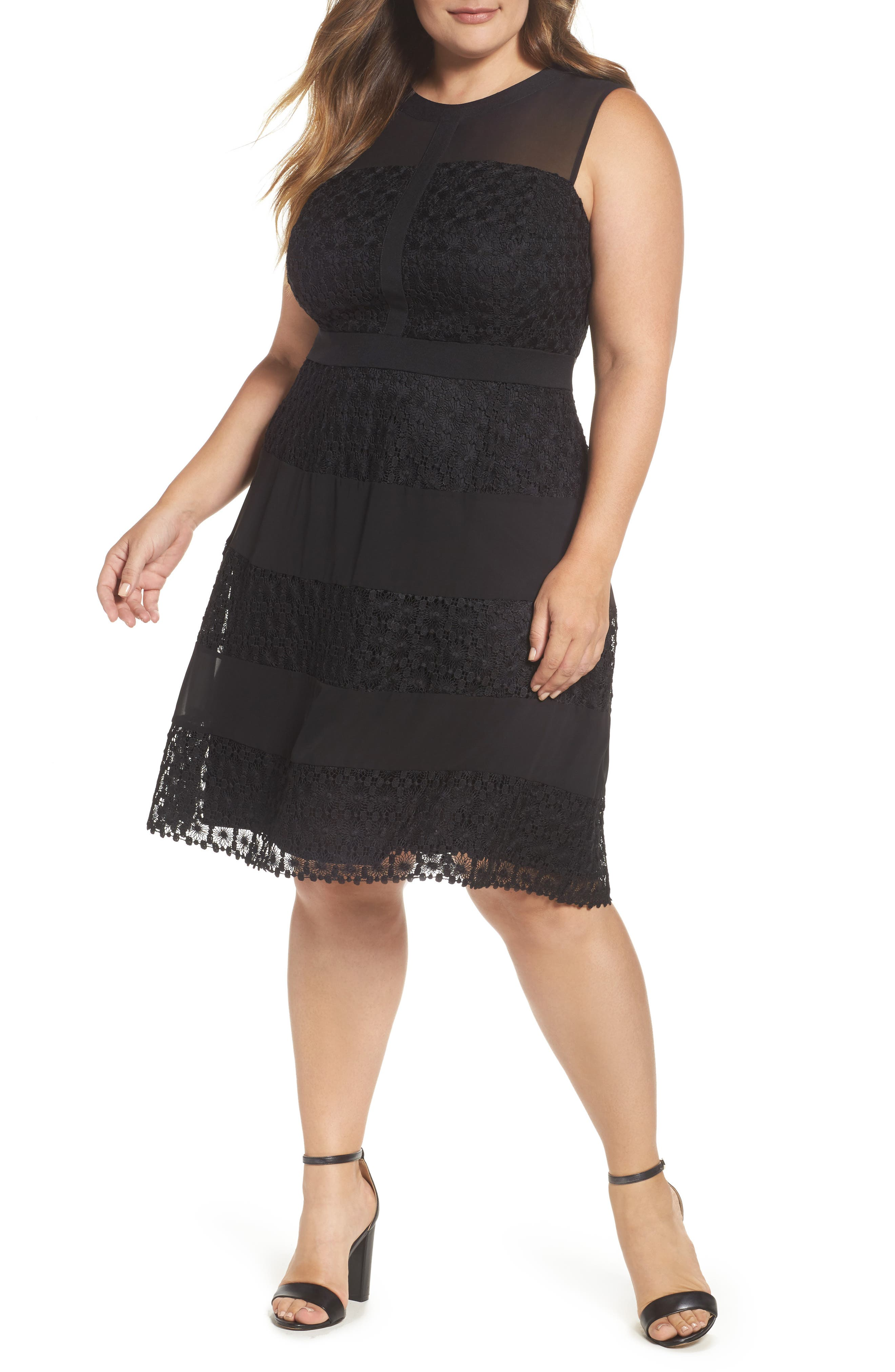 London Time Geo Galaxy Lace Fit & Flare Dress,                         Main,                         color, Black