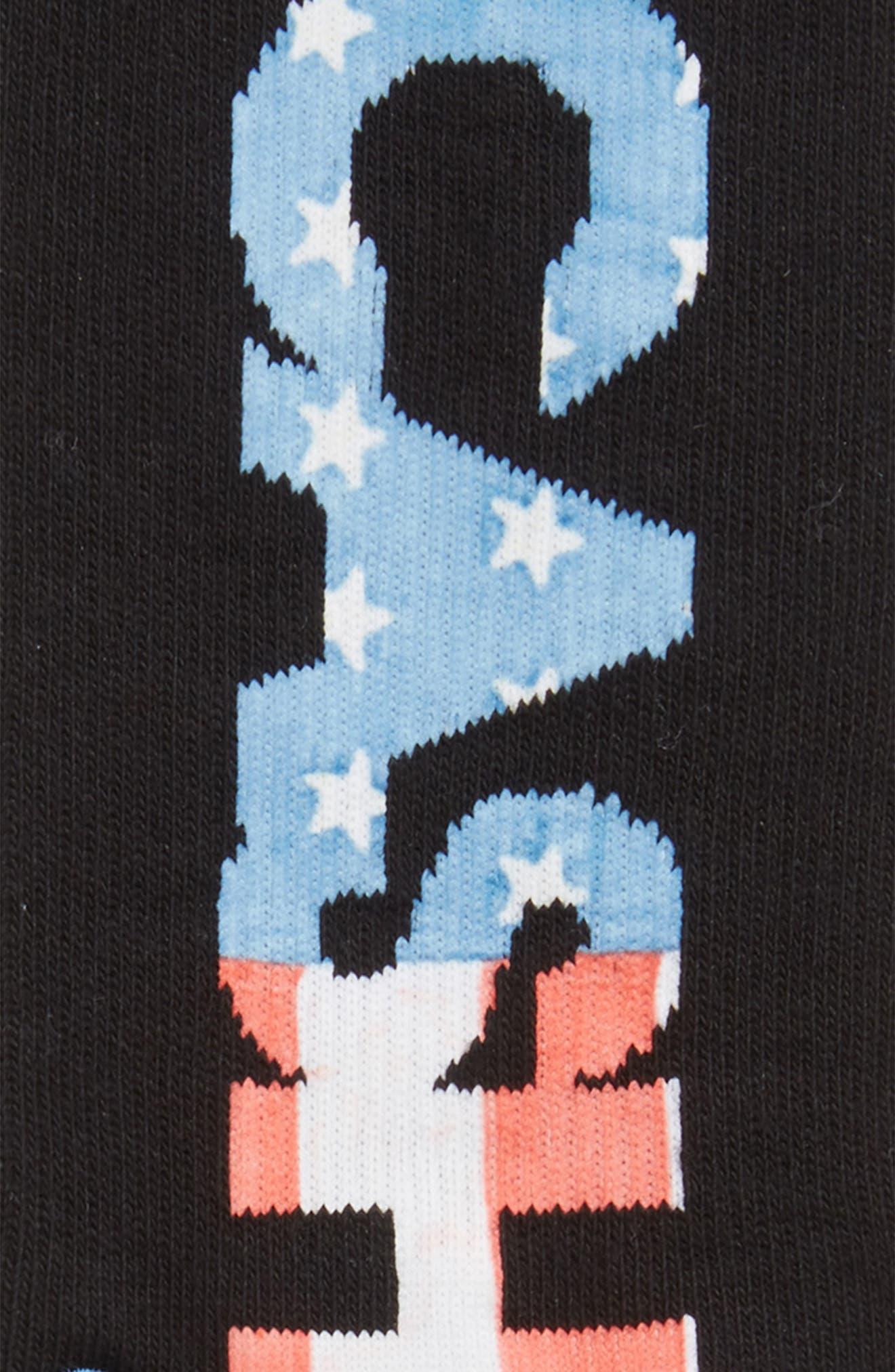 Johnny Cash V2 Crew Socks,                             Alternate thumbnail 2, color,                             Black