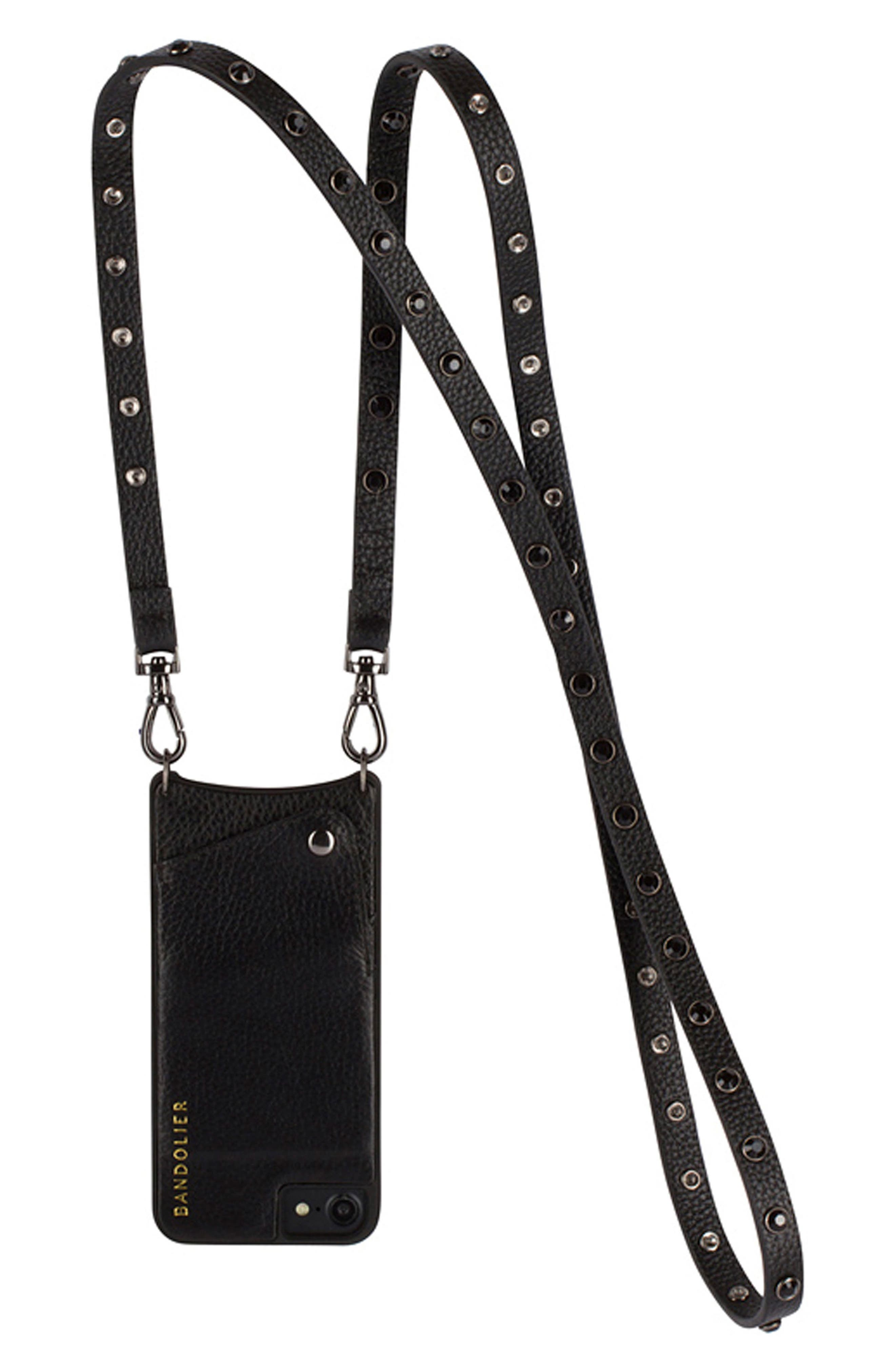 Jules Leather iPhone 6/7/8 & 6/7/8 Plus Crossbody Case,                         Main,                         color, Black/ Pewter