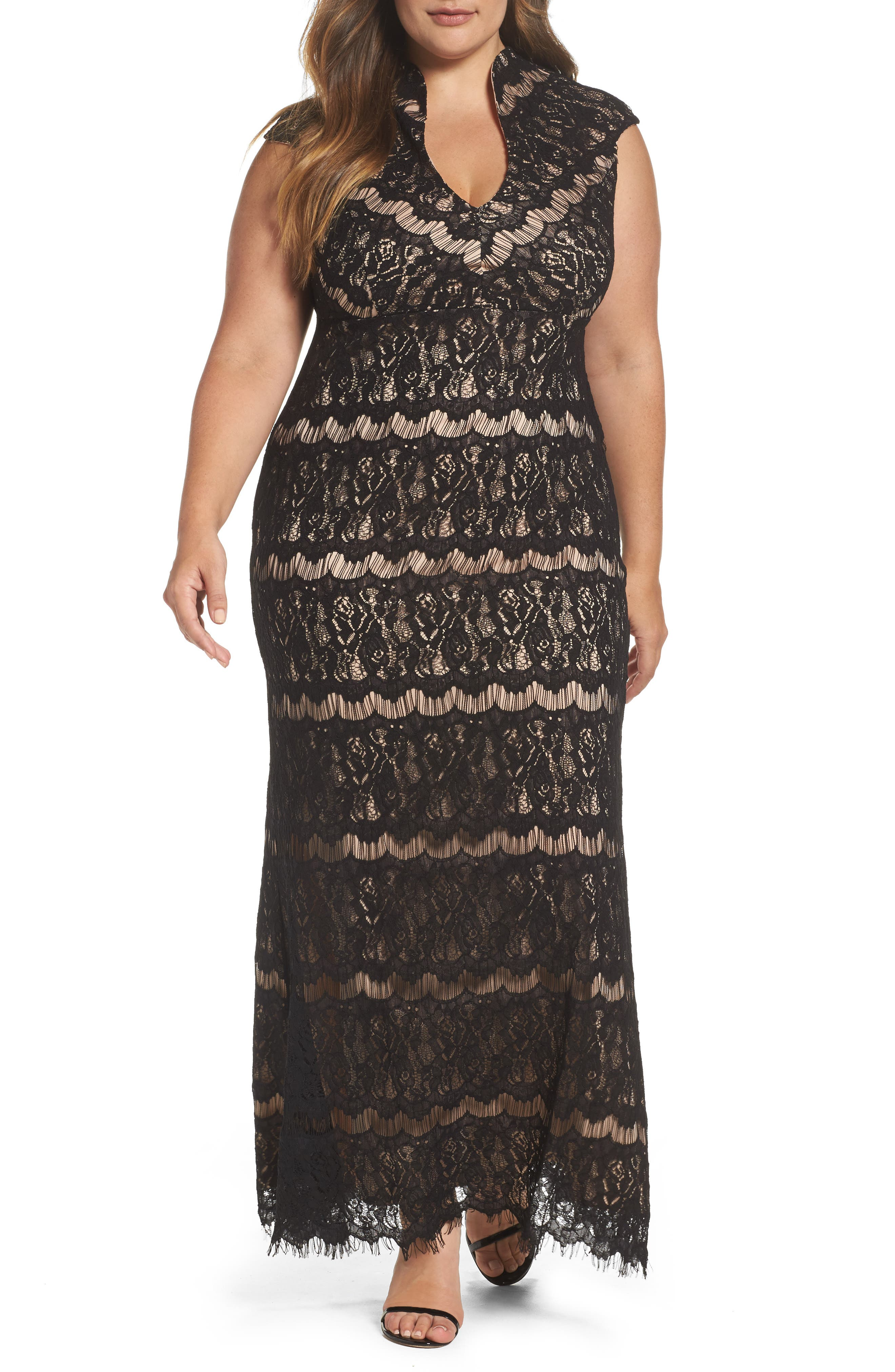 Lace Empire Gown,                         Main,                         color, Black/ Nude