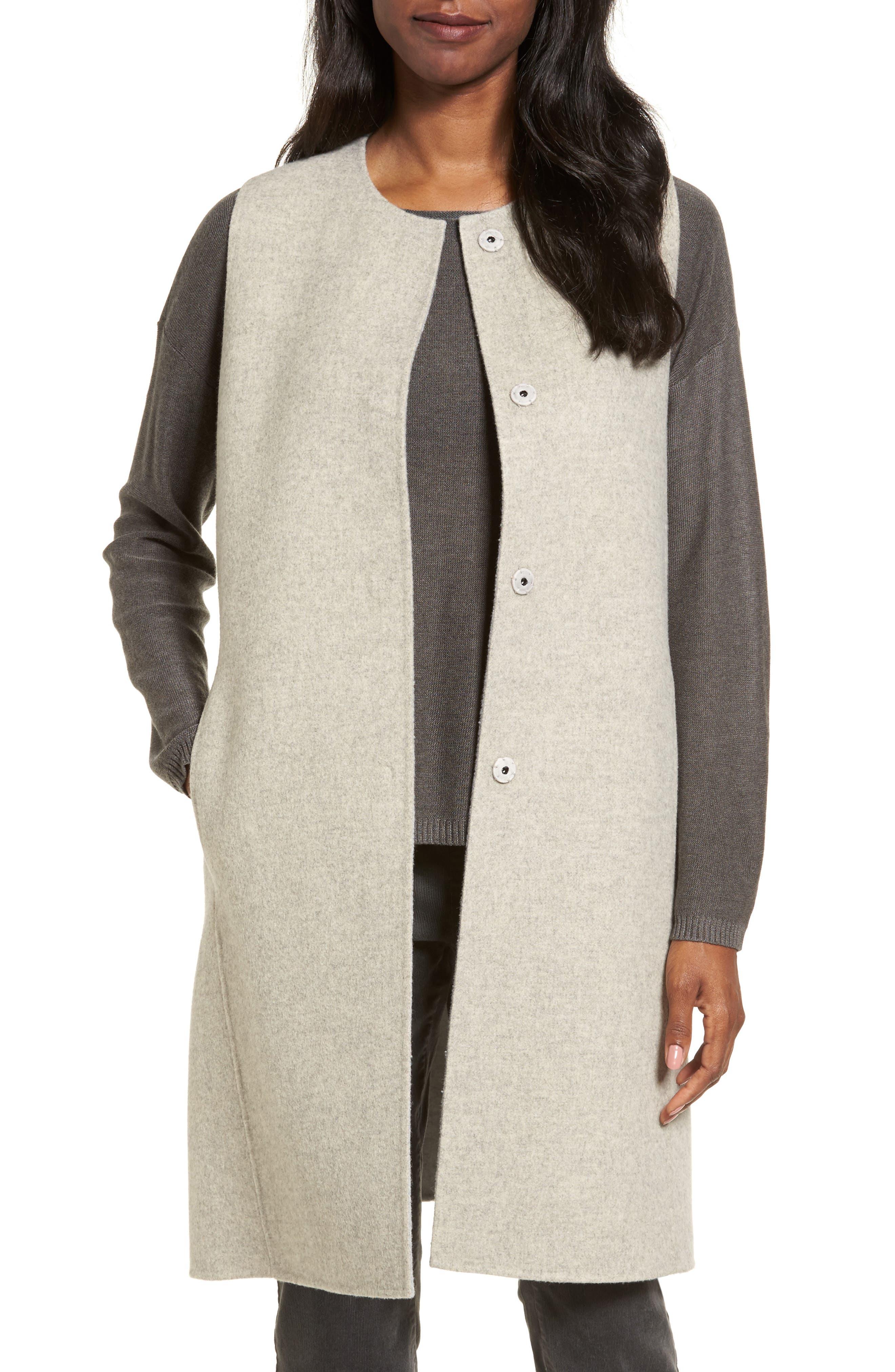 Eileen Fisher Long Wool Blend Vest