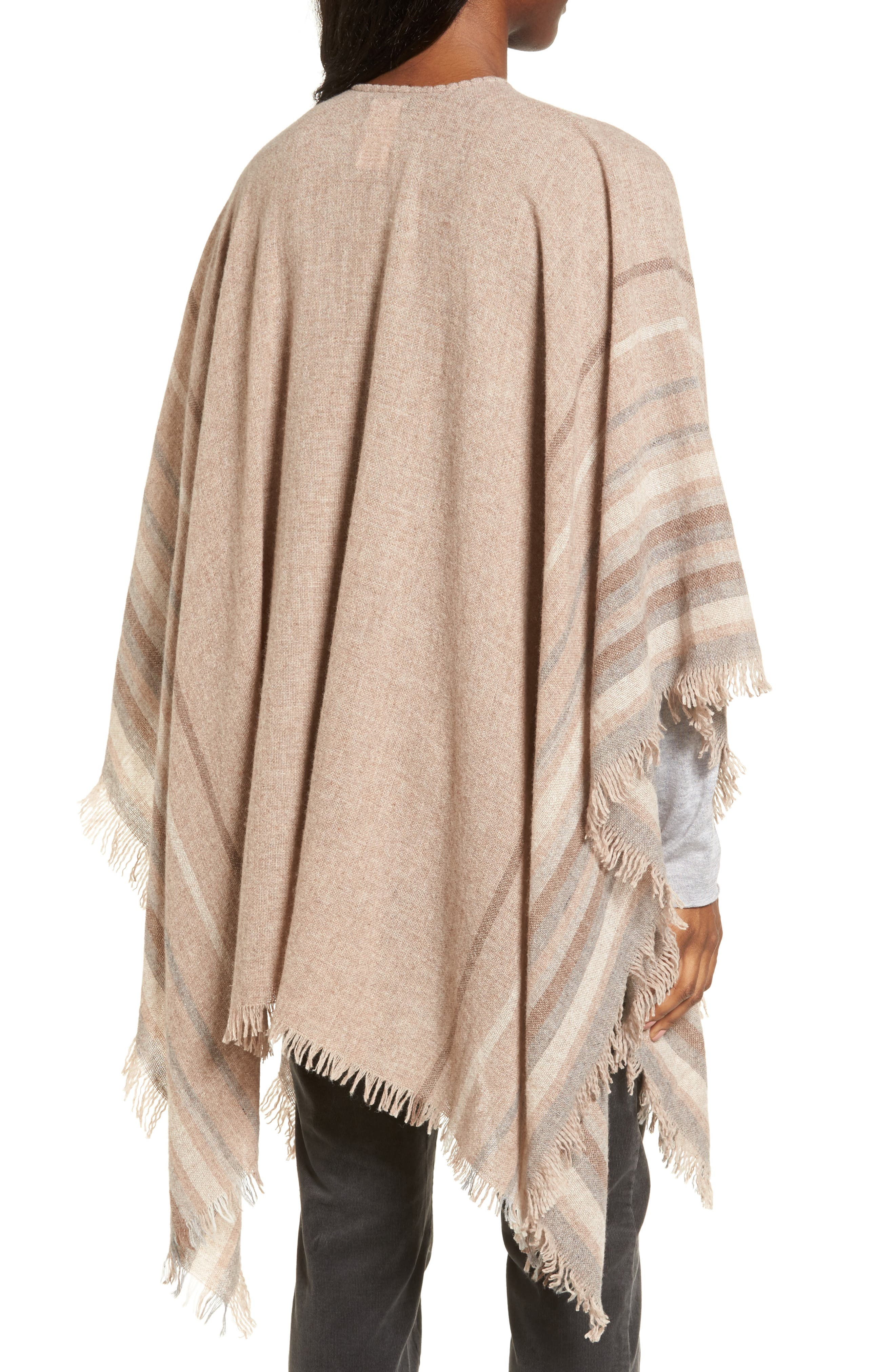 Alternate Image 2  - Eileen Fisher Stripe Wool Blend Poncho Wrap