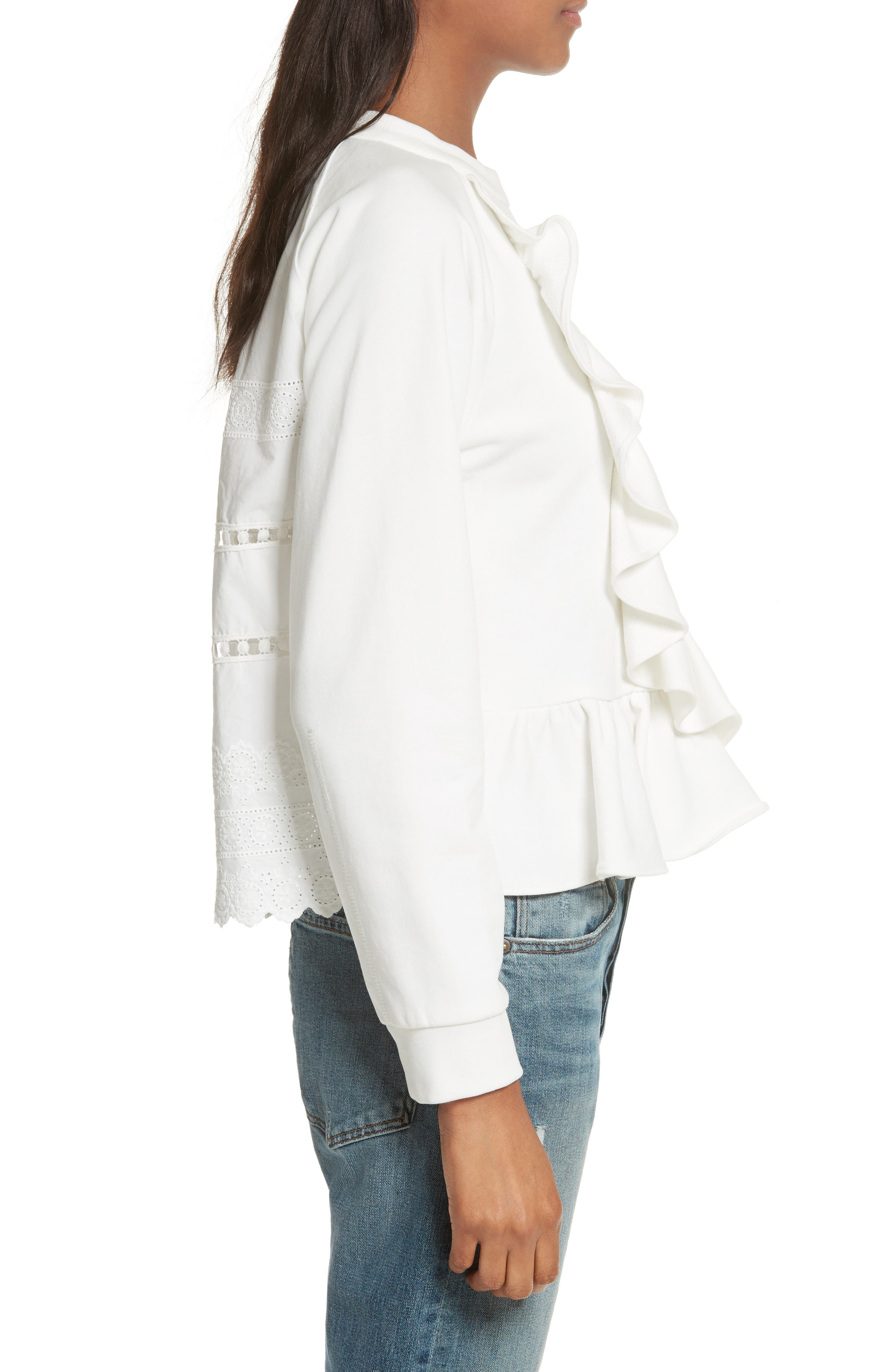 Ruffle Crop Sweatshirt,                             Alternate thumbnail 3, color,                             Cream
