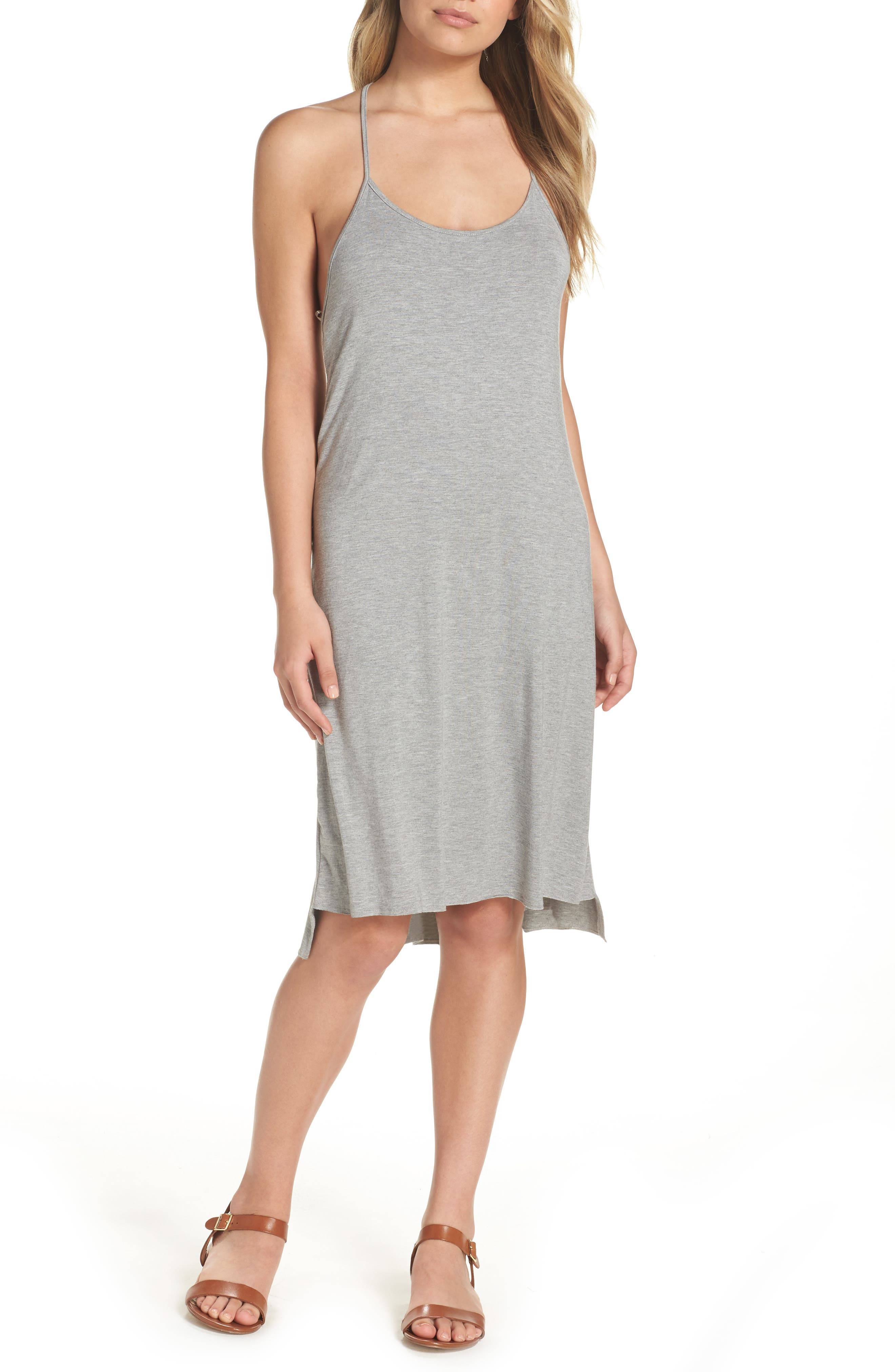 T-Back Cover-Up Dress,                         Main,                         color, Grey Pavement Heather