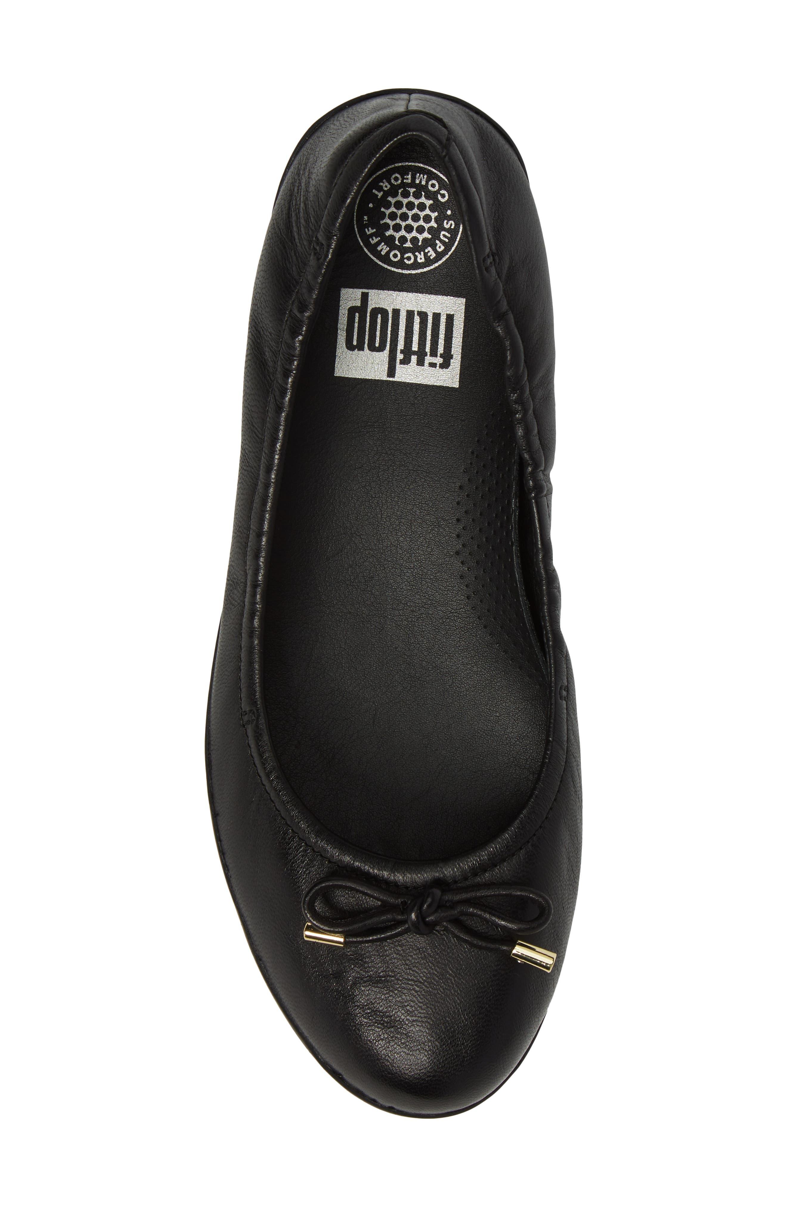 Superbendy Ballerina Flat,                             Alternate thumbnail 5, color,                             Black Leather