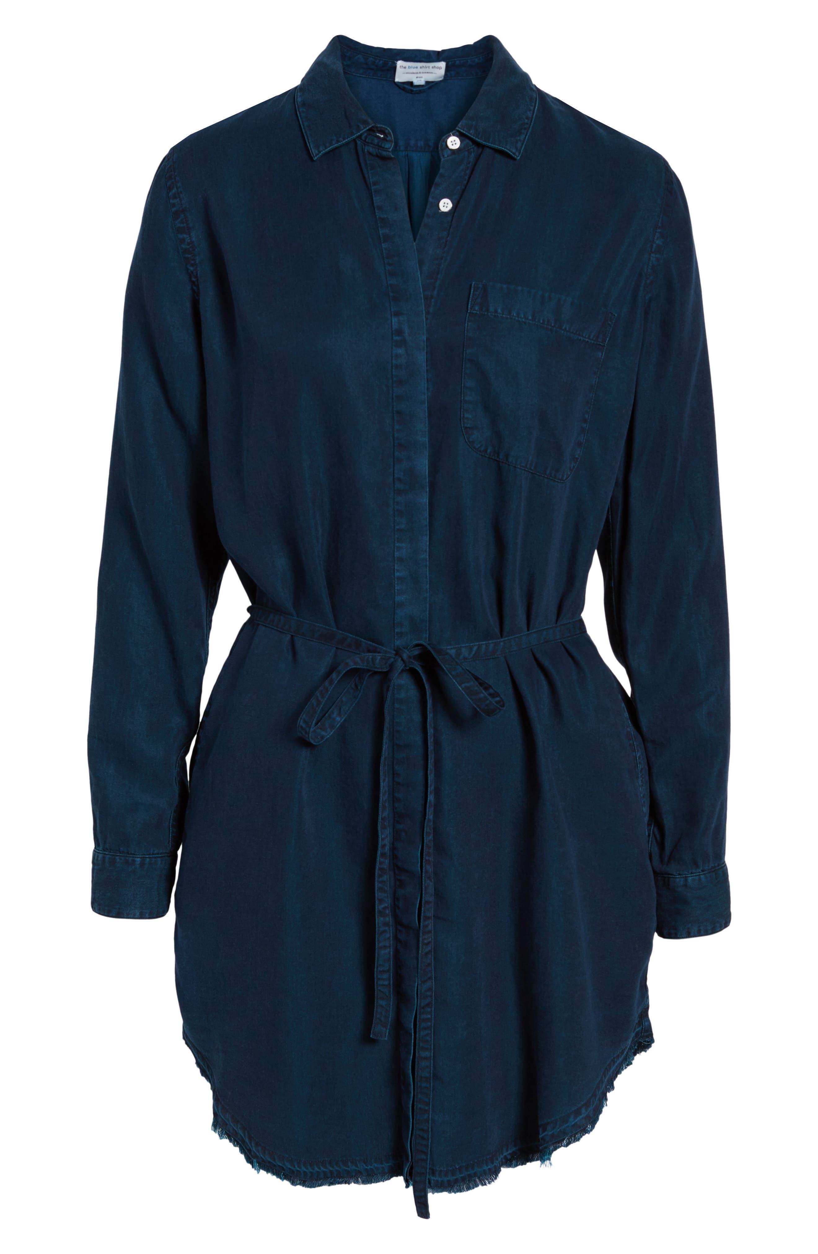 Elizabeth & Kenmare Shirtdress,                             Alternate thumbnail 6, color,                             Indigo Overdye
