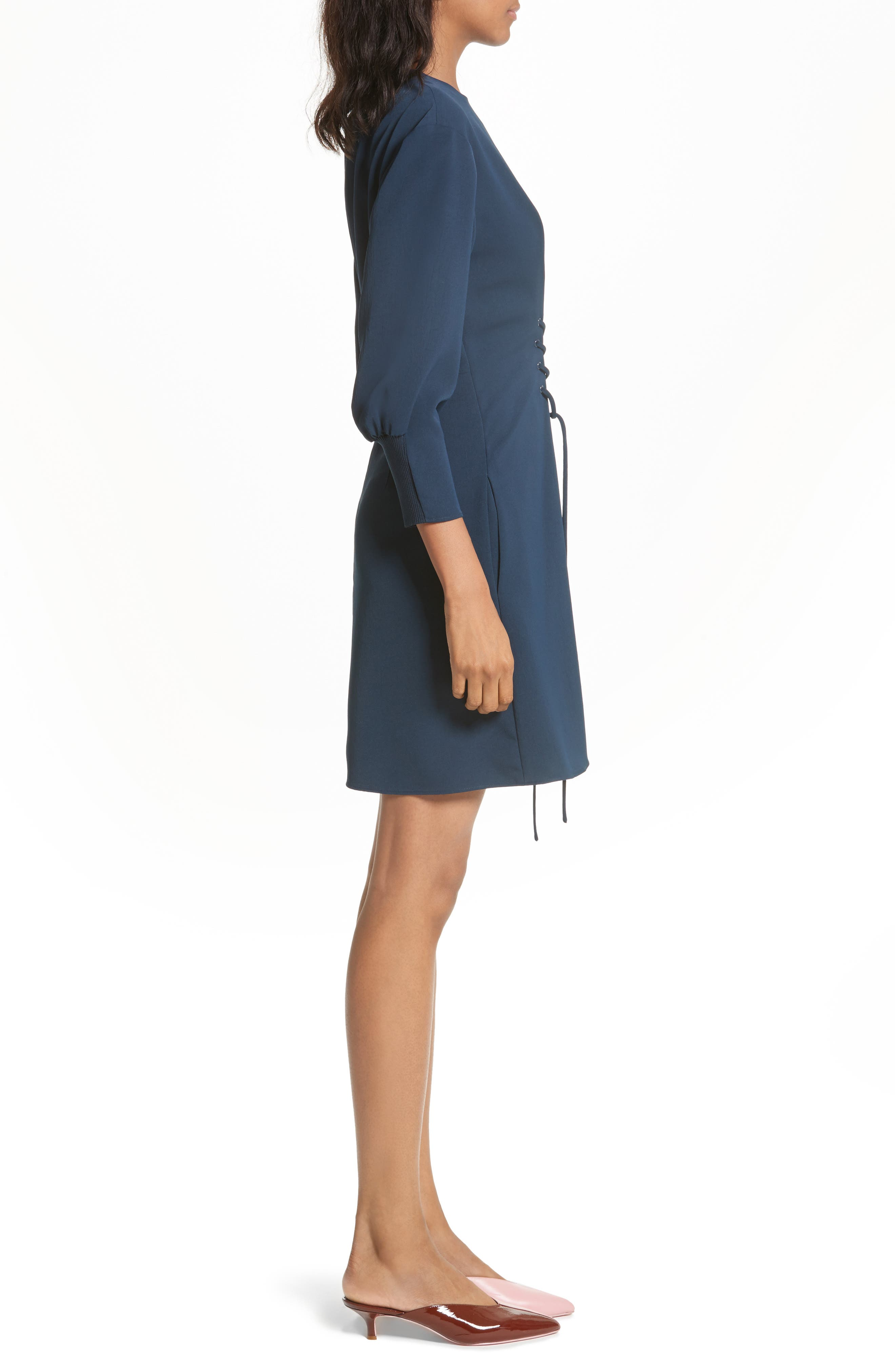 Lace-Up Draped Twill Dress,                             Alternate thumbnail 3, color,                             Navy