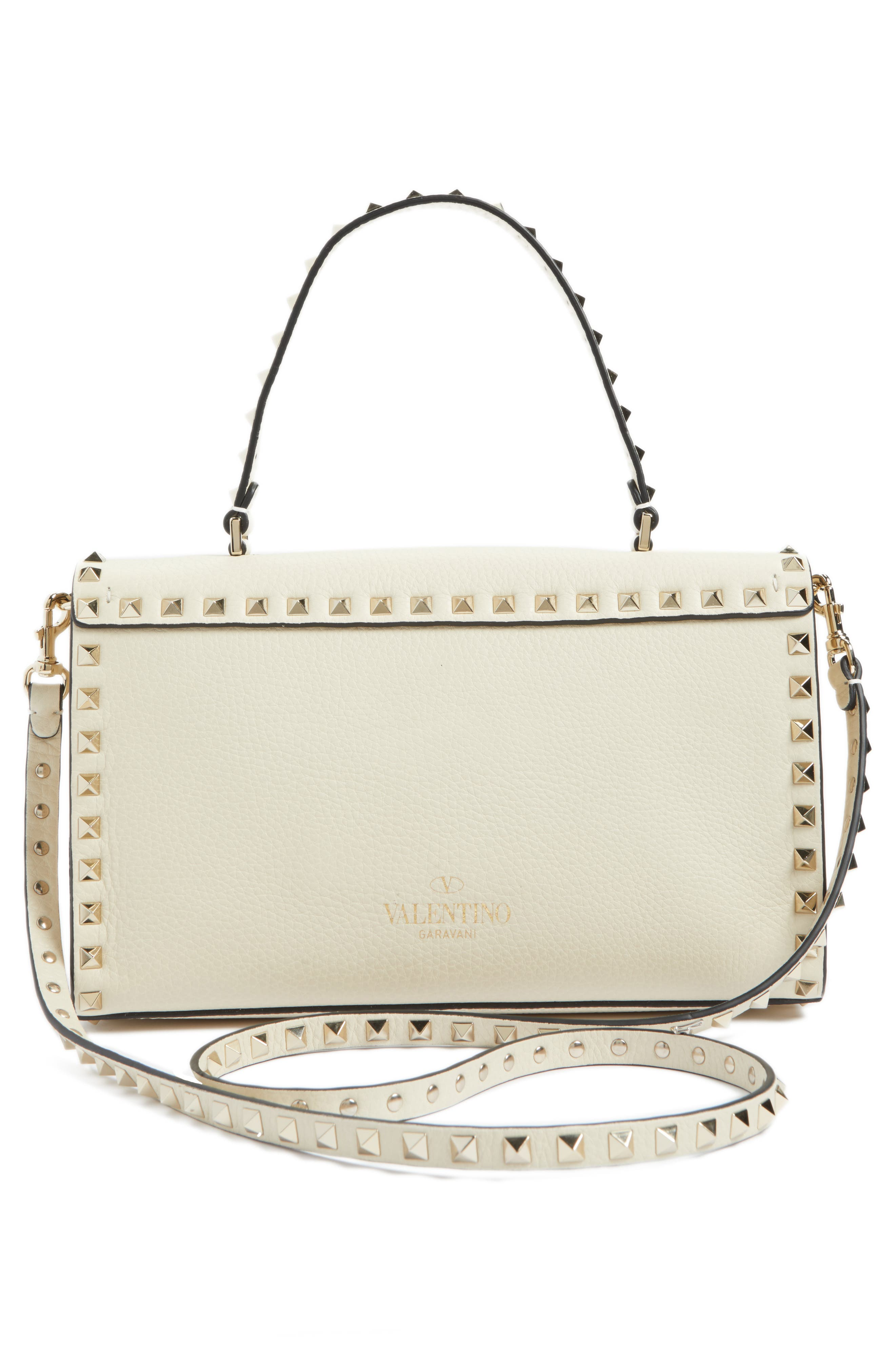 Rockstud Leather Top Handle Shoulder Bag,                             Alternate thumbnail 2, color,                             Light Ivory