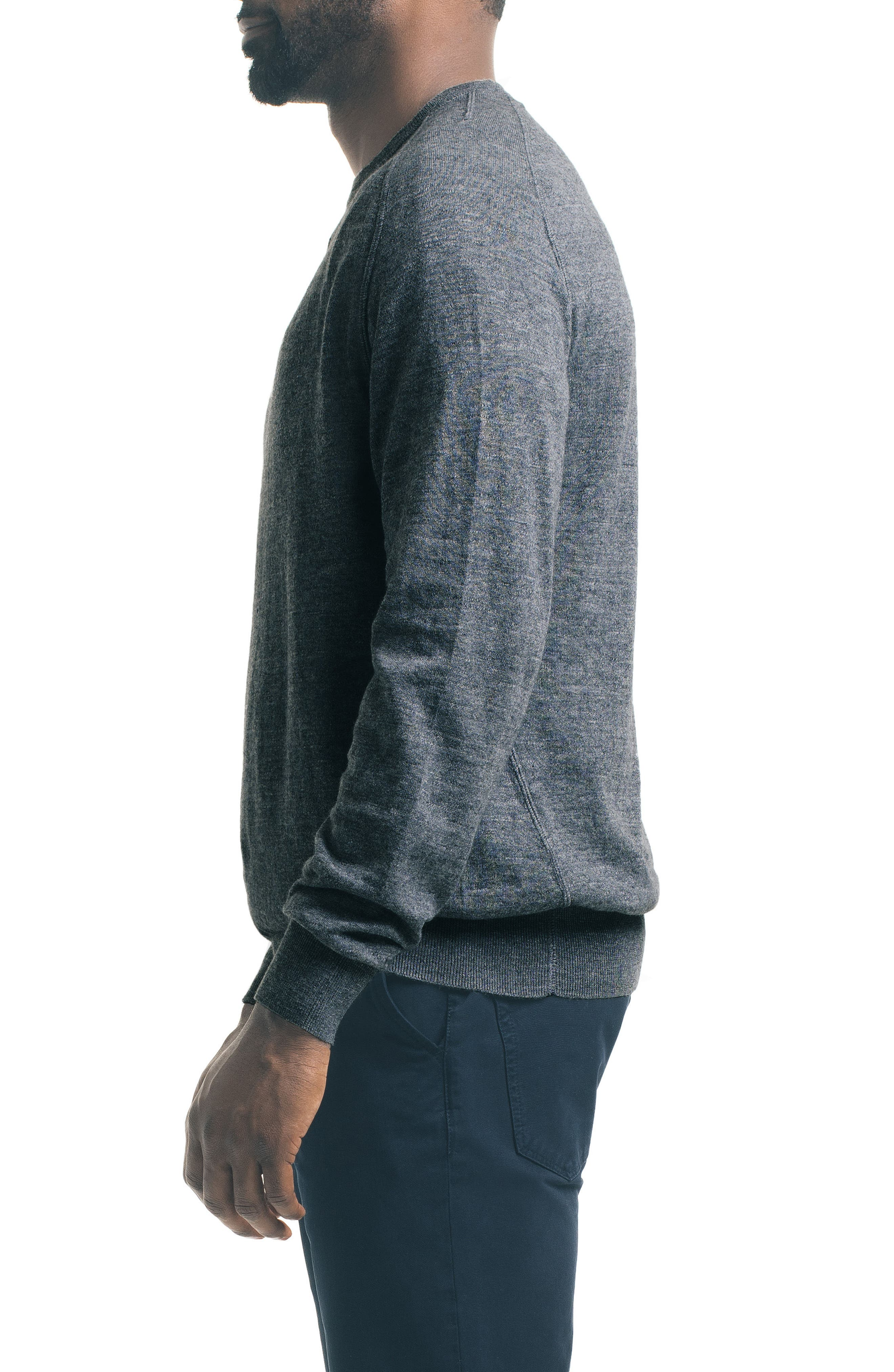 Slub Pullover Sweater,                             Alternate thumbnail 3, color,                             Charcoal