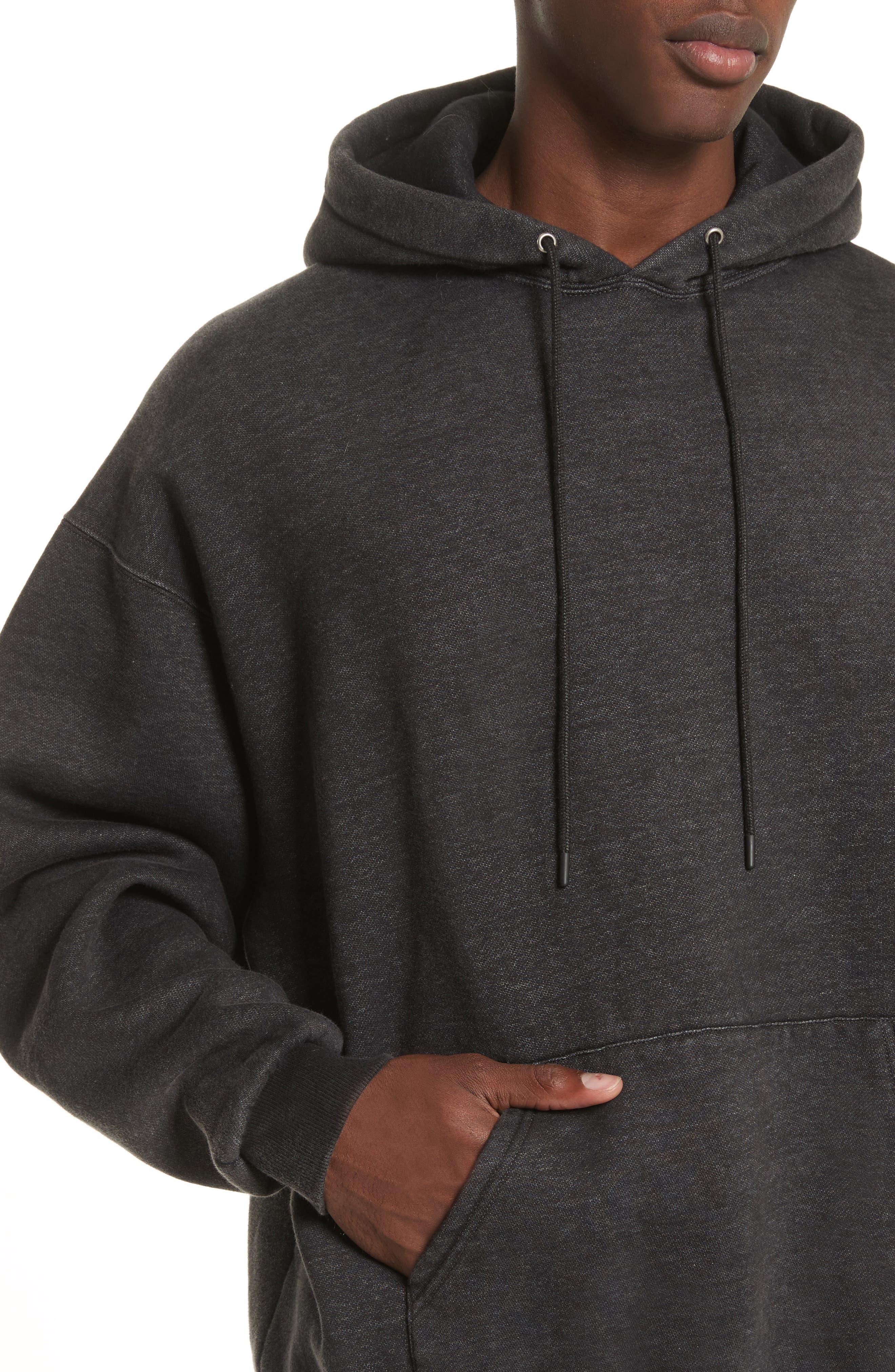 Oversize Pullover Hoodie,                             Alternate thumbnail 4, color,                             Acid Black