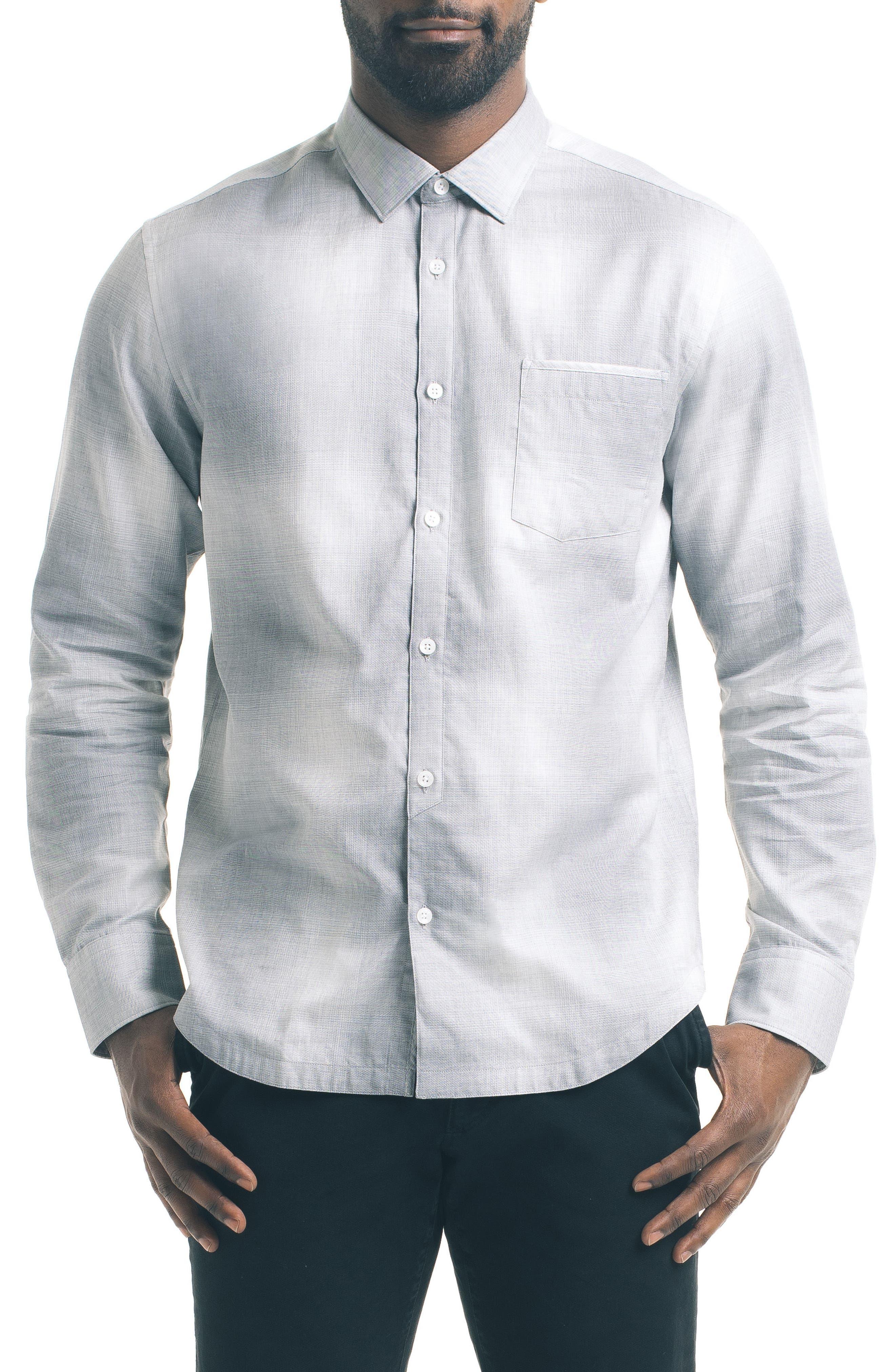 Slim Fit Ombré Check Sport Shirt,                         Main,                         color, Grey