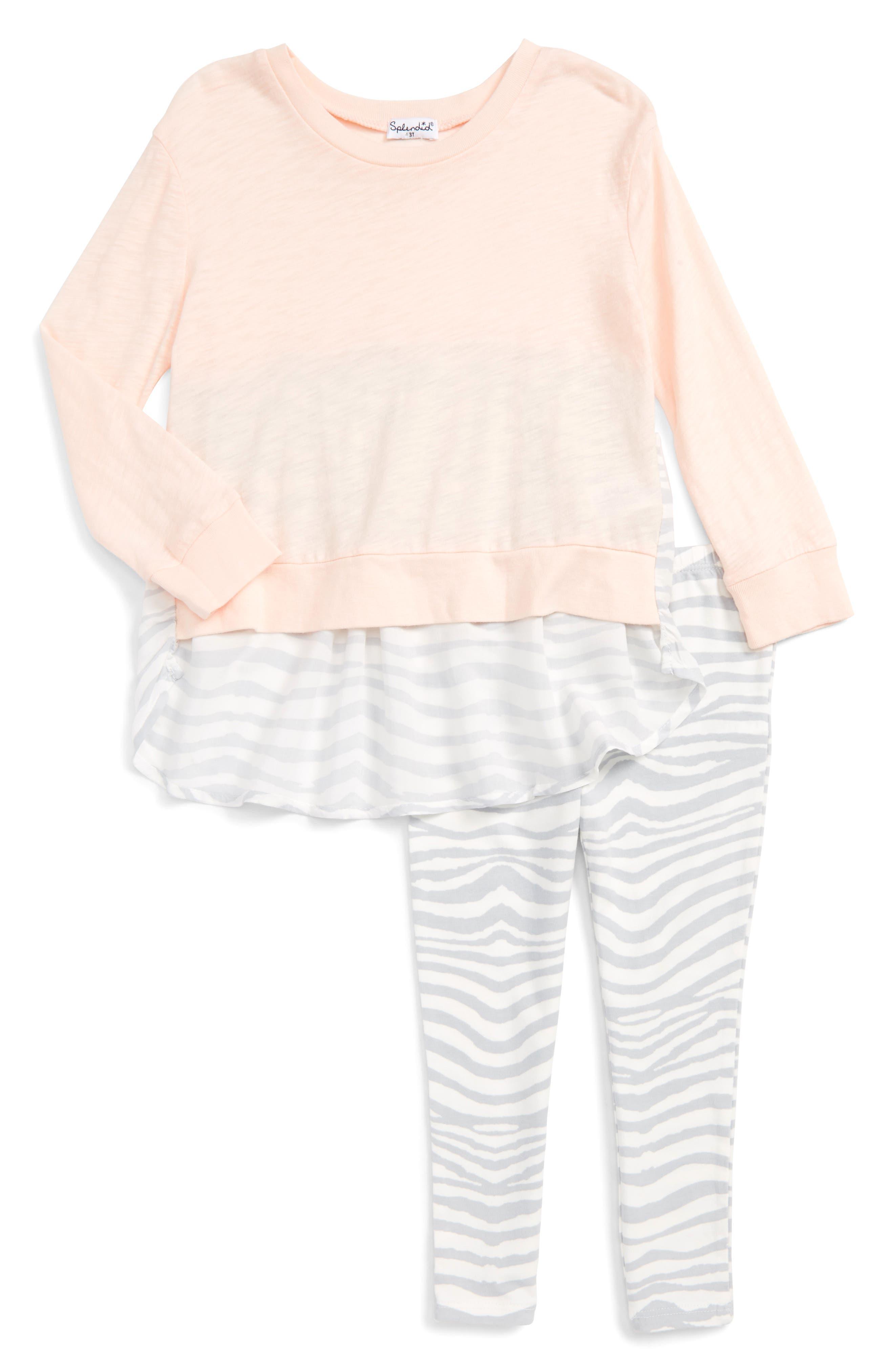 Splendid Sweatshirt & Zebra Print Leggings Set (Toddler Girls)