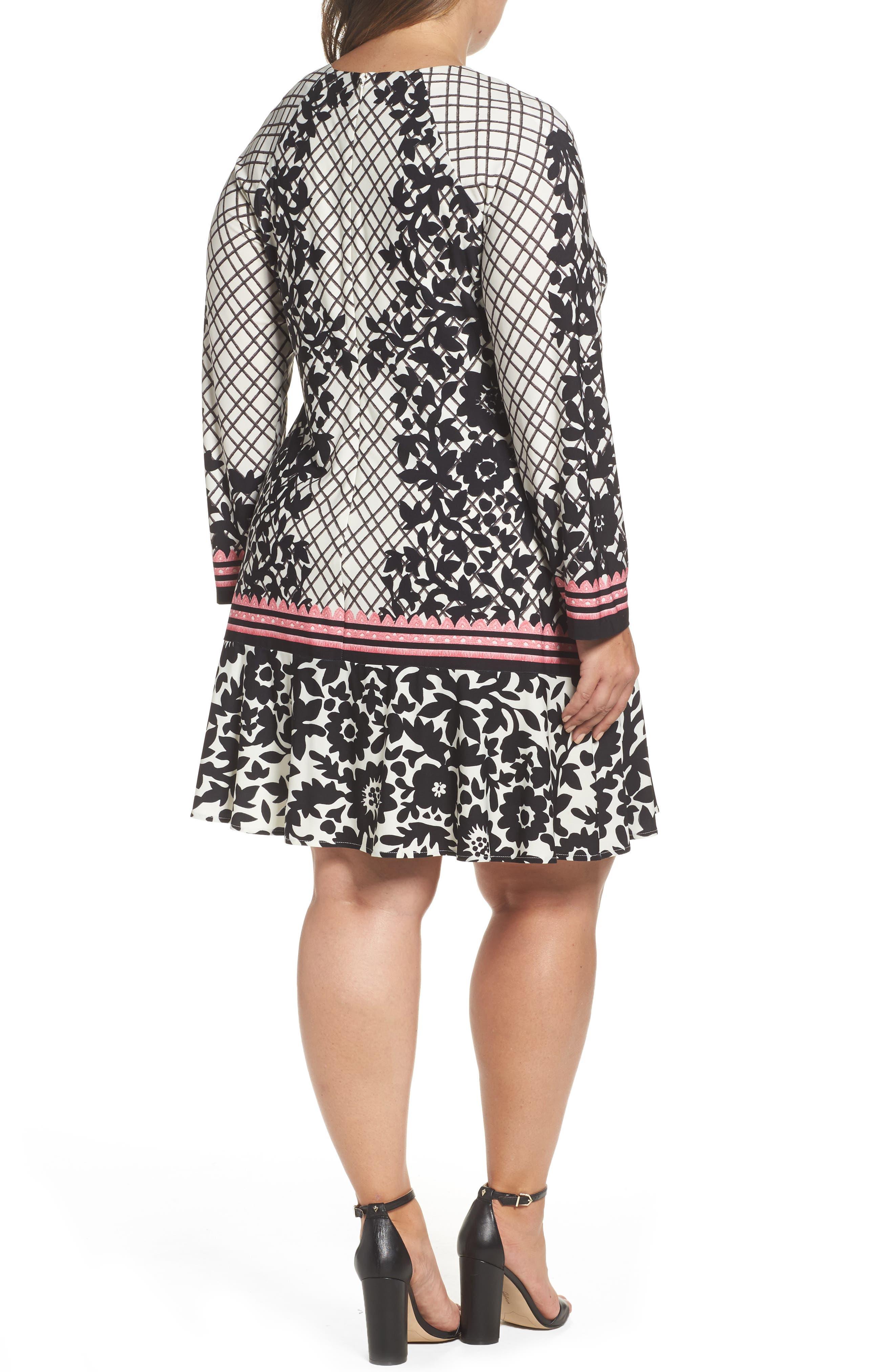 Lace Trim Shift Dress,                             Alternate thumbnail 3, color,                             Black/ Pink