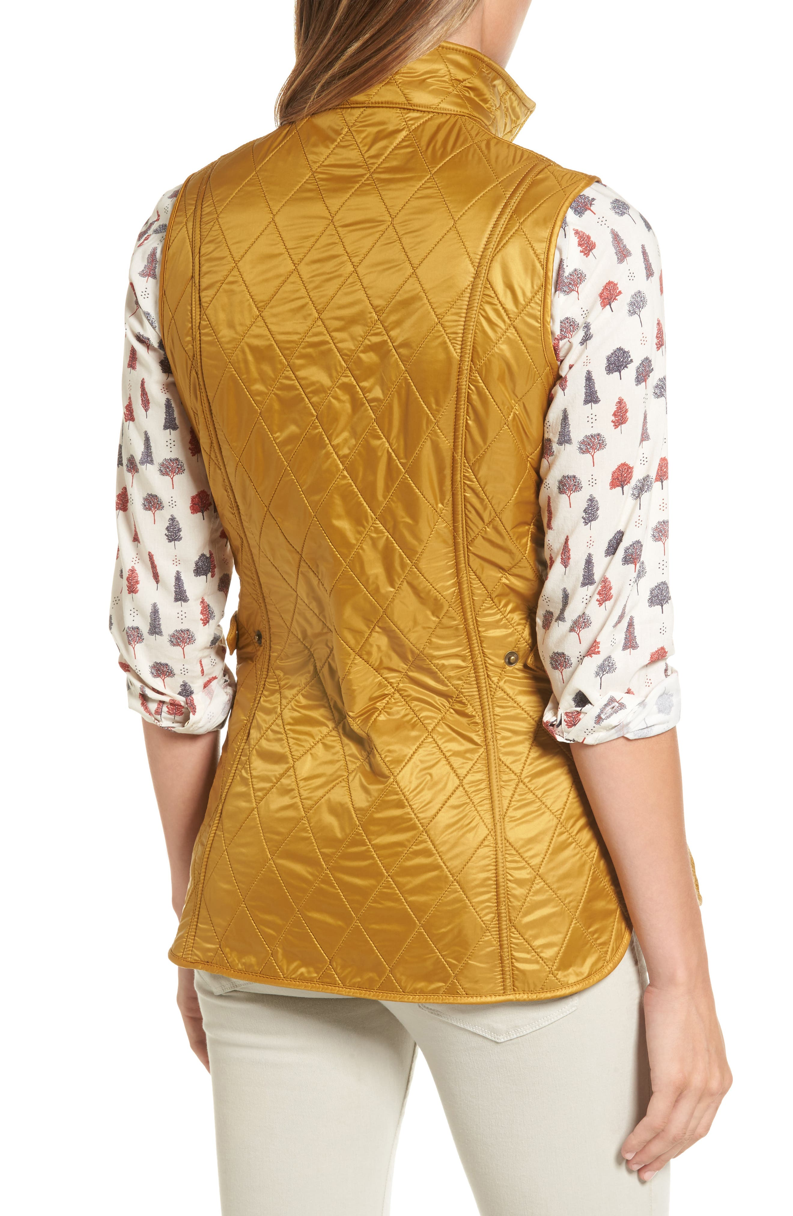 Wray Water Resistant Quilted Gilet,                             Alternate thumbnail 3, color,                             Harvest Gold