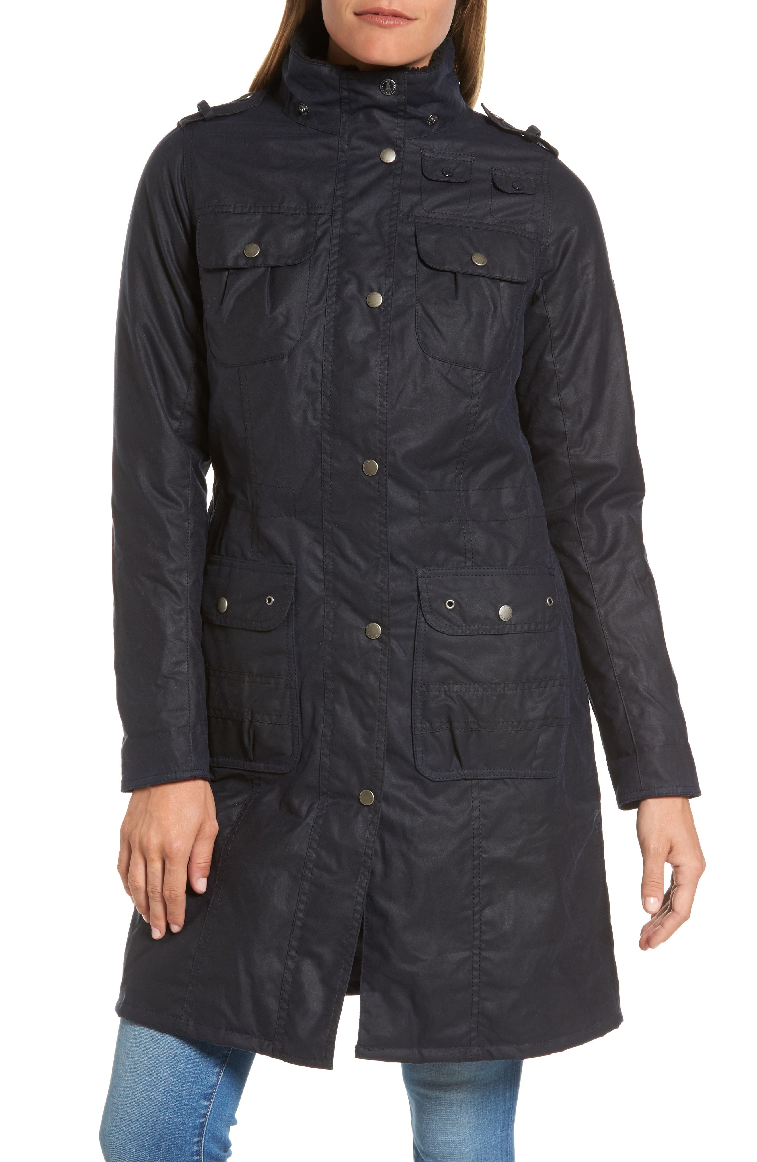 Winterton Hooded Water Repellent Waxed Canvas Jacket,                             Alternate thumbnail 4, color,                             Royal Navy