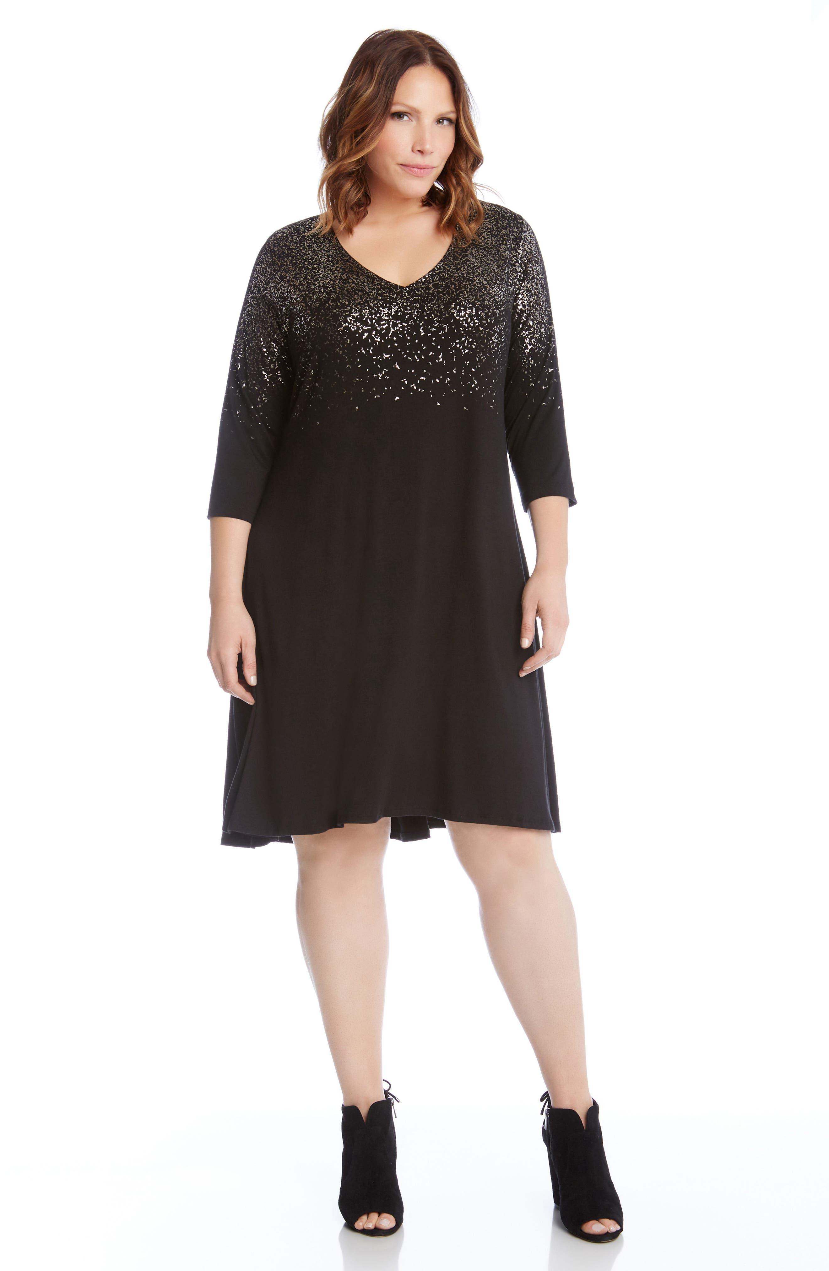 Alternate Image 3  - Karen Kane Speckled Print A-Line Dress (Plus Size)