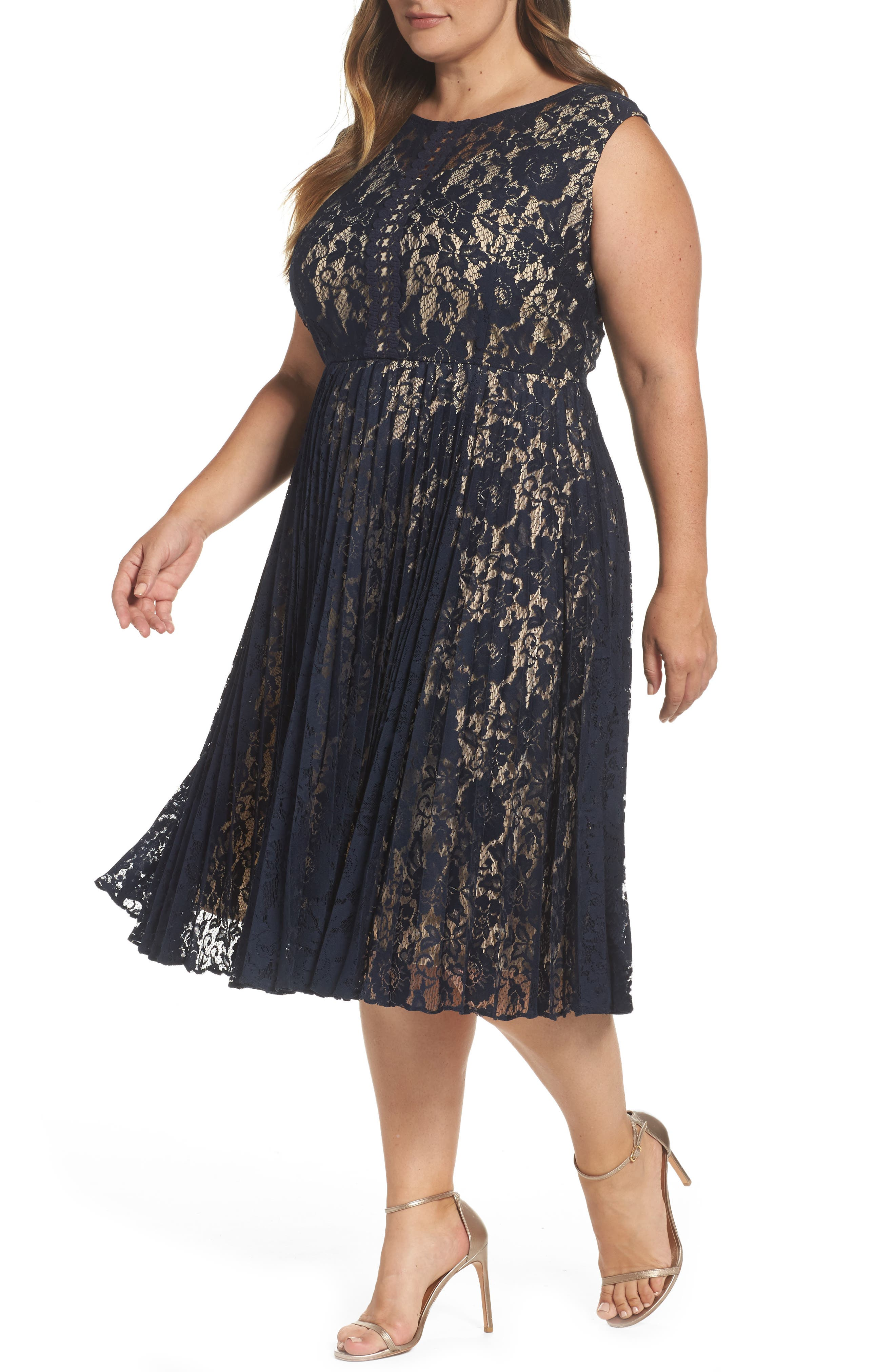 Gabby Skye Illusion Lace Pleat Midi Dress (Plus Size)