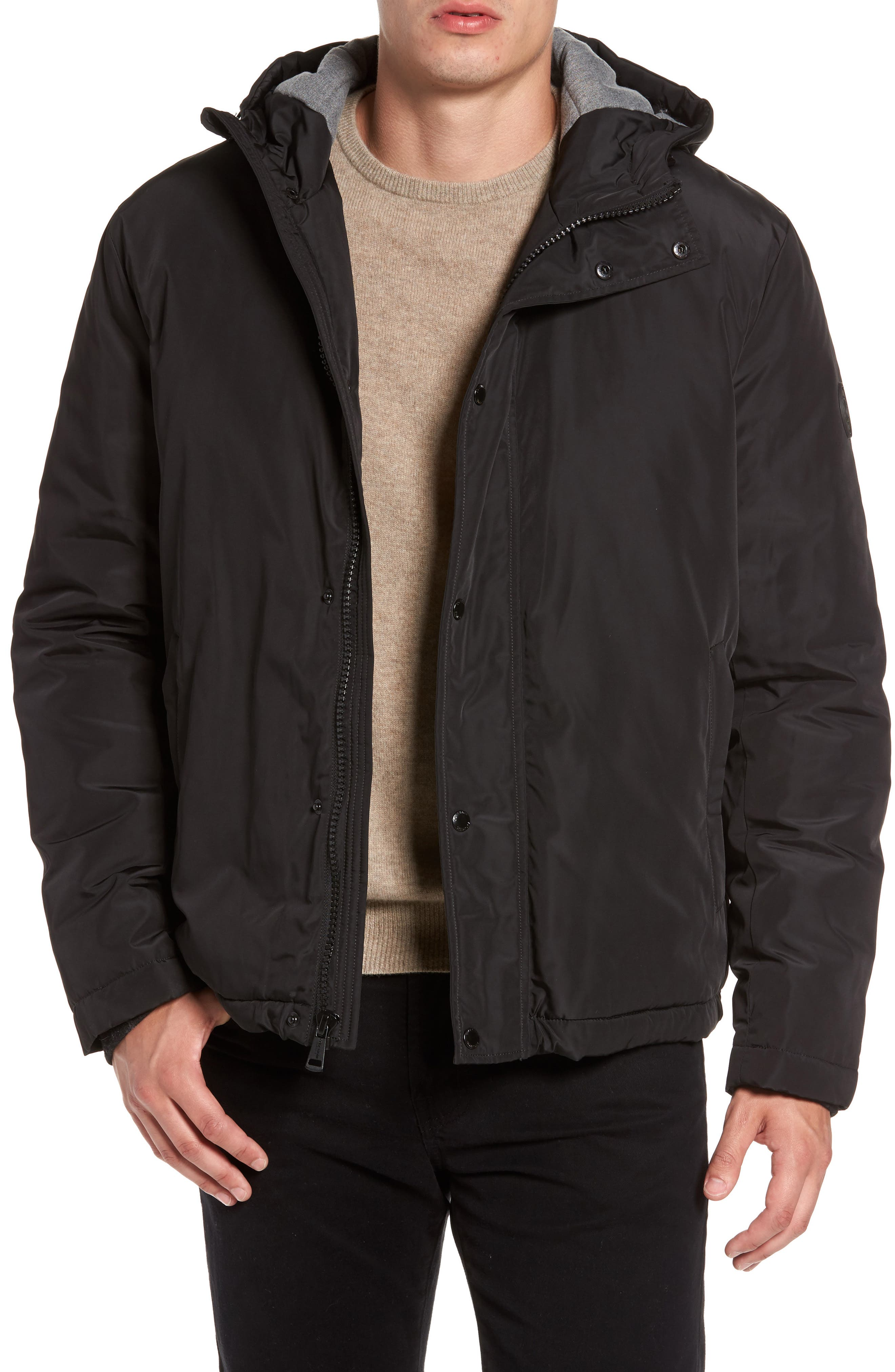 Water Resistant Insulated Jacket,                         Main,                         color, Black