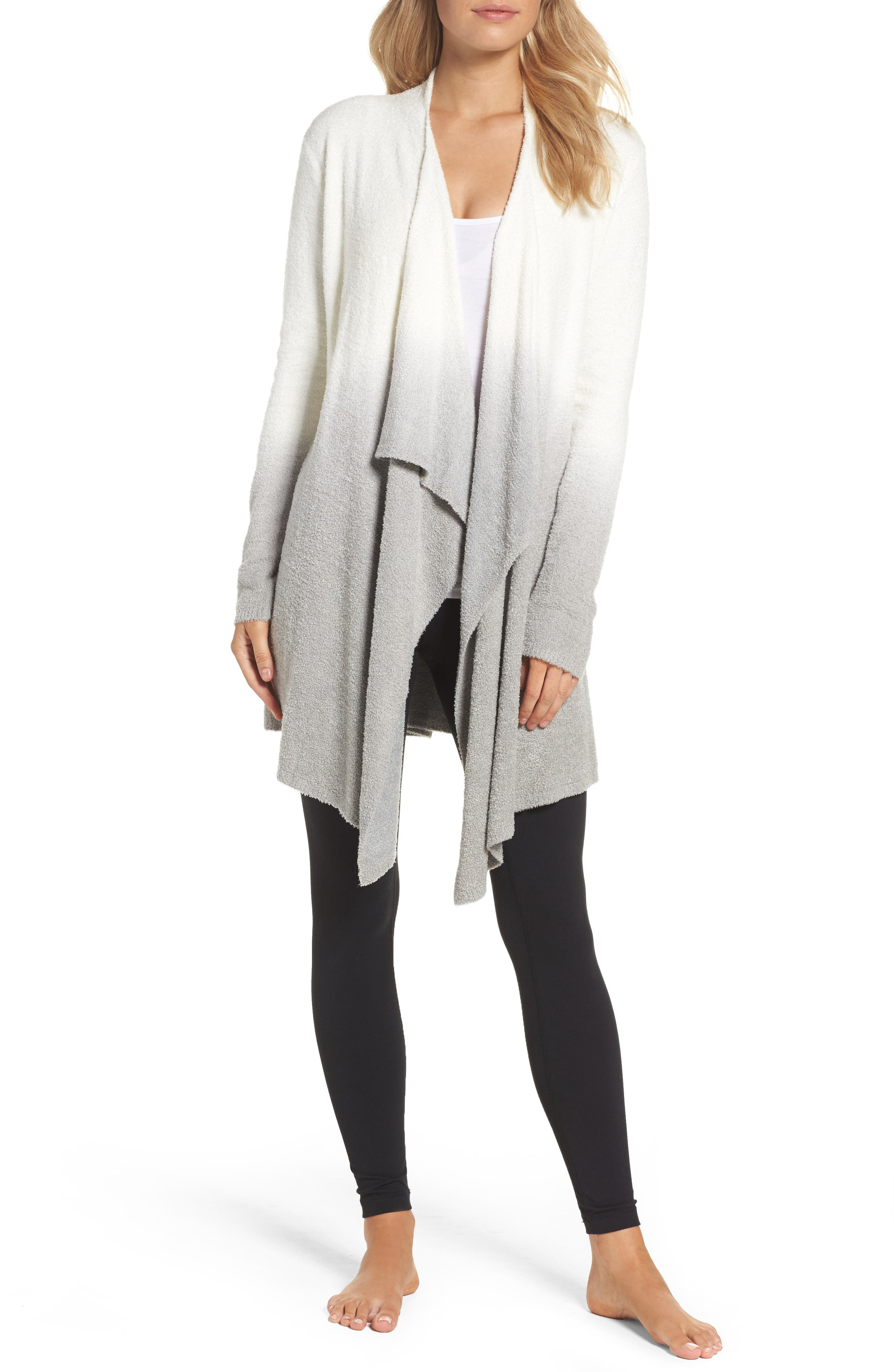 CozyChic Lite<sup>®</sup> Calypso Wrap Cardigan,                         Main,                         color, White/ Pewter Ombre