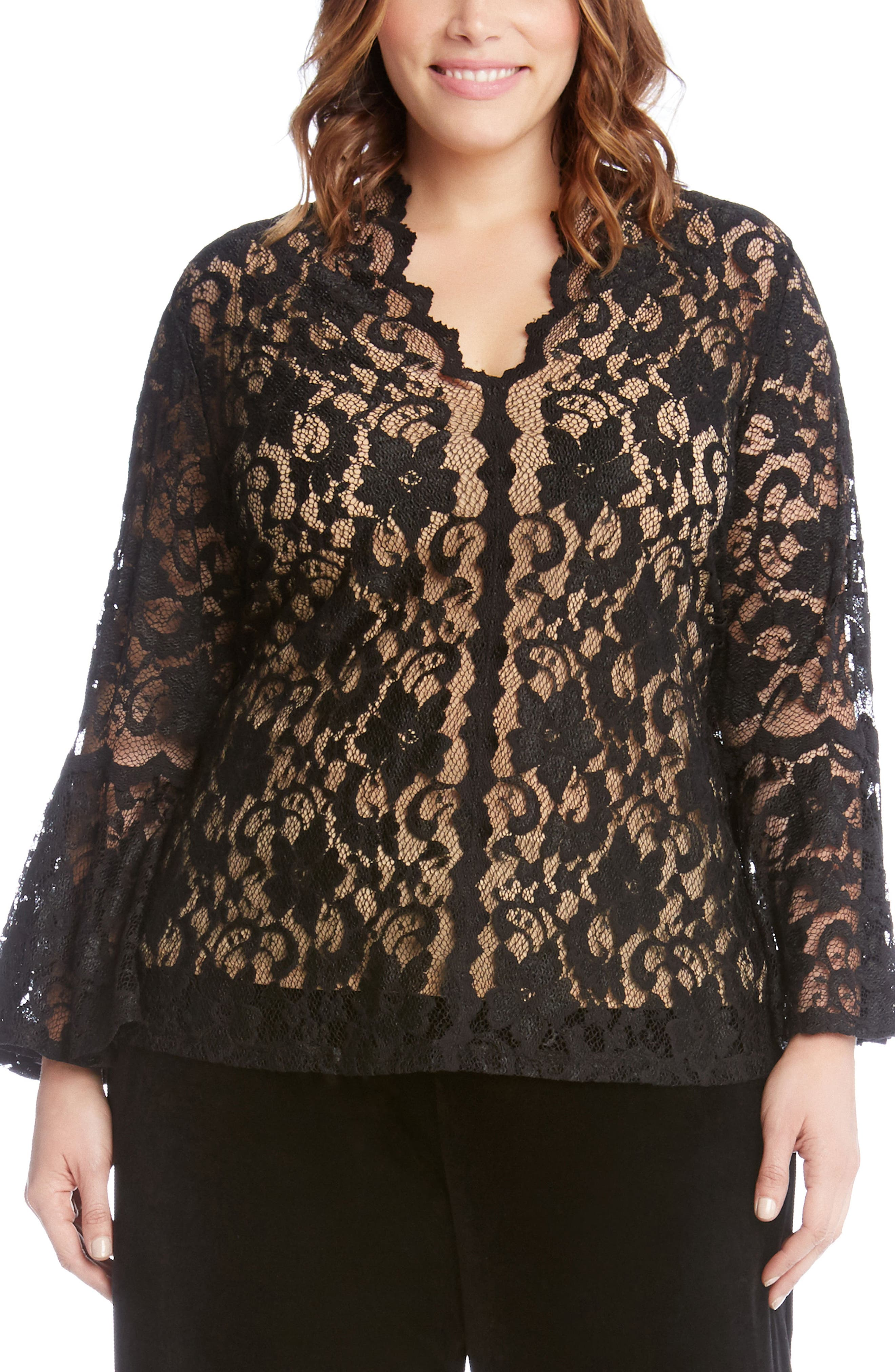 Bell Sleeve Lace Top,                             Main thumbnail 1, color,                             Black With Nude