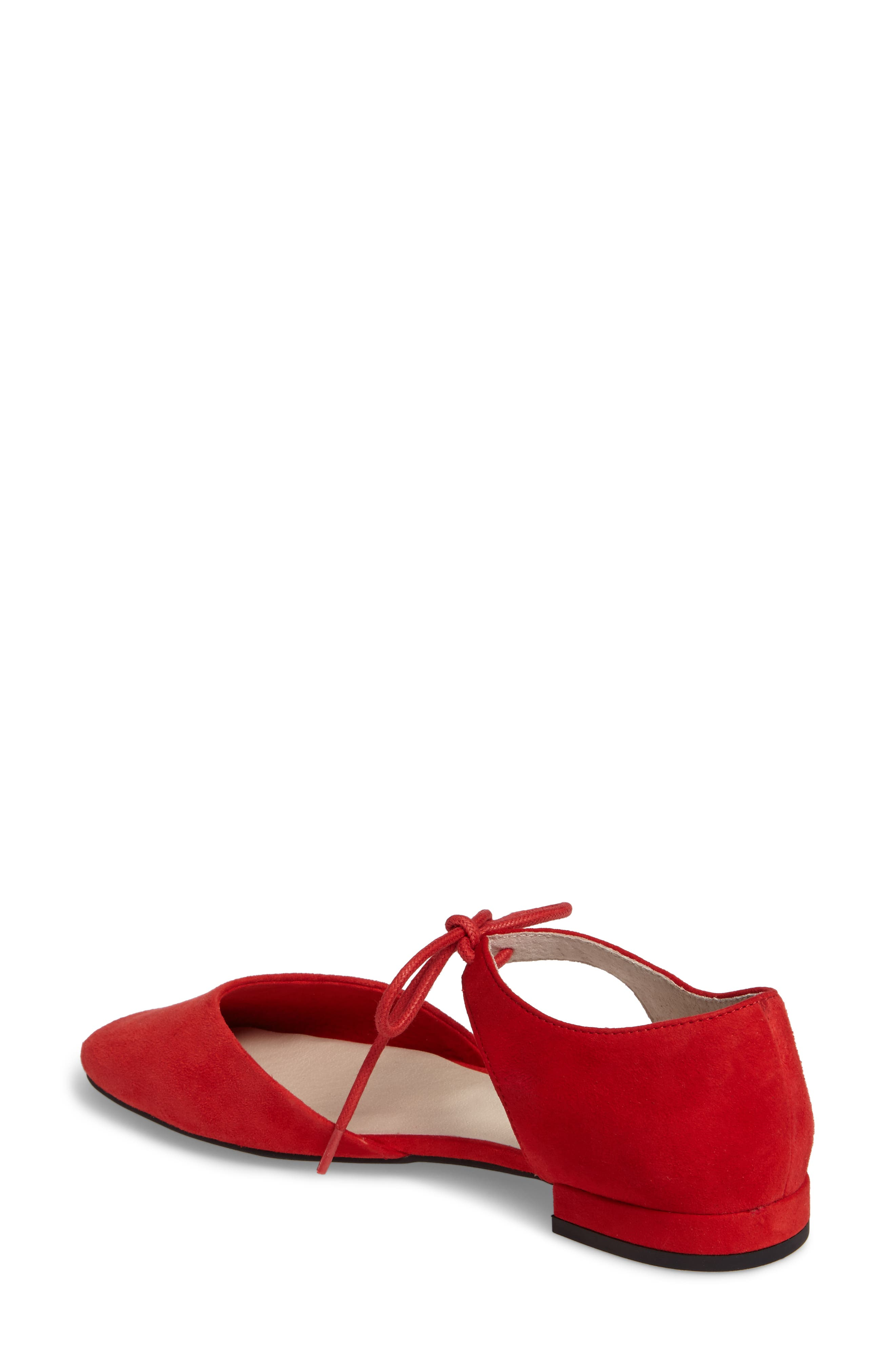 Prospect Tie Front Flat,                             Alternate thumbnail 2, color,                             Red Suede